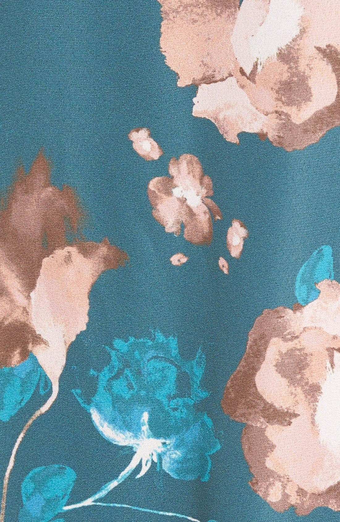 Floral Print Slipdress,                             Alternate thumbnail 5, color,                             Teal Floral Print