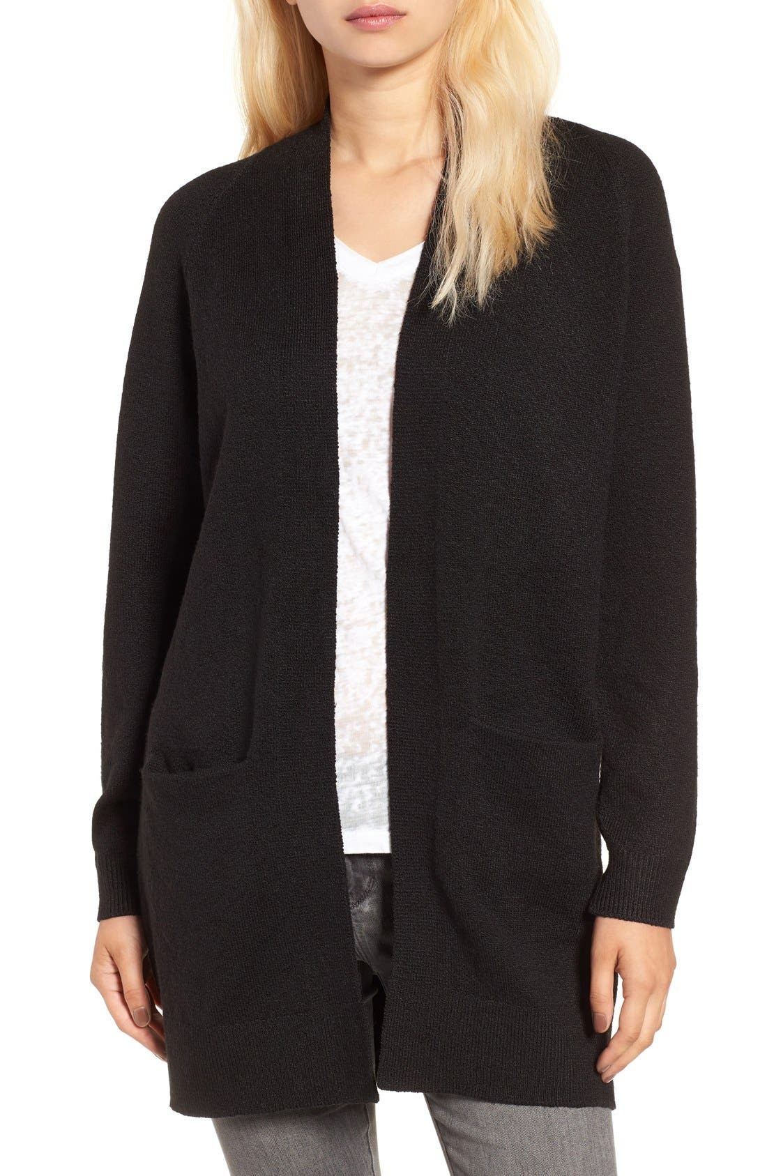 Open Front Cardigan,                             Main thumbnail 1, color,                             Black
