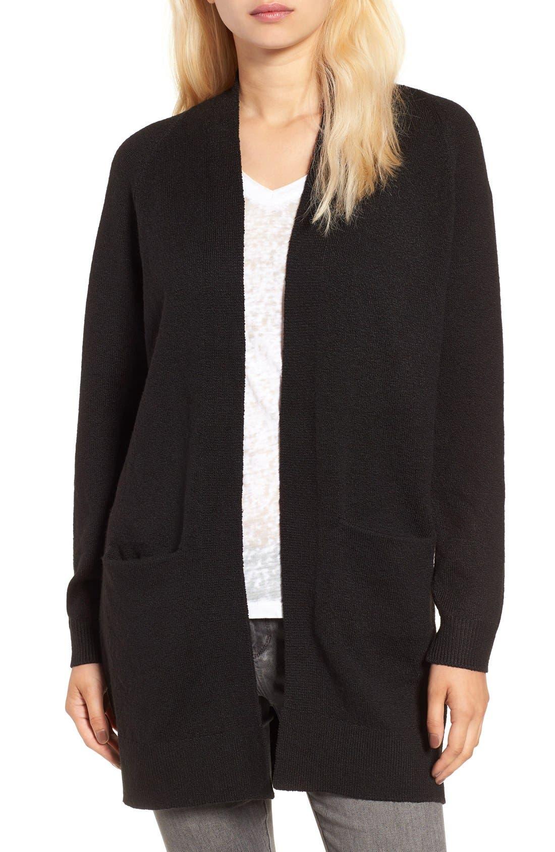 Open Front Cardigan,                         Main,                         color, Black