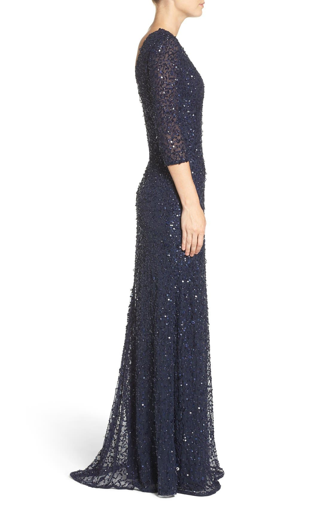 Sequin Mesh Gown,                             Alternate thumbnail 3, color,                             Navy