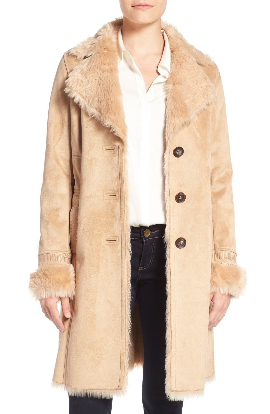 Alternate Image 1 Selected - Badgley Mischka Faux Shearling Lined Coat