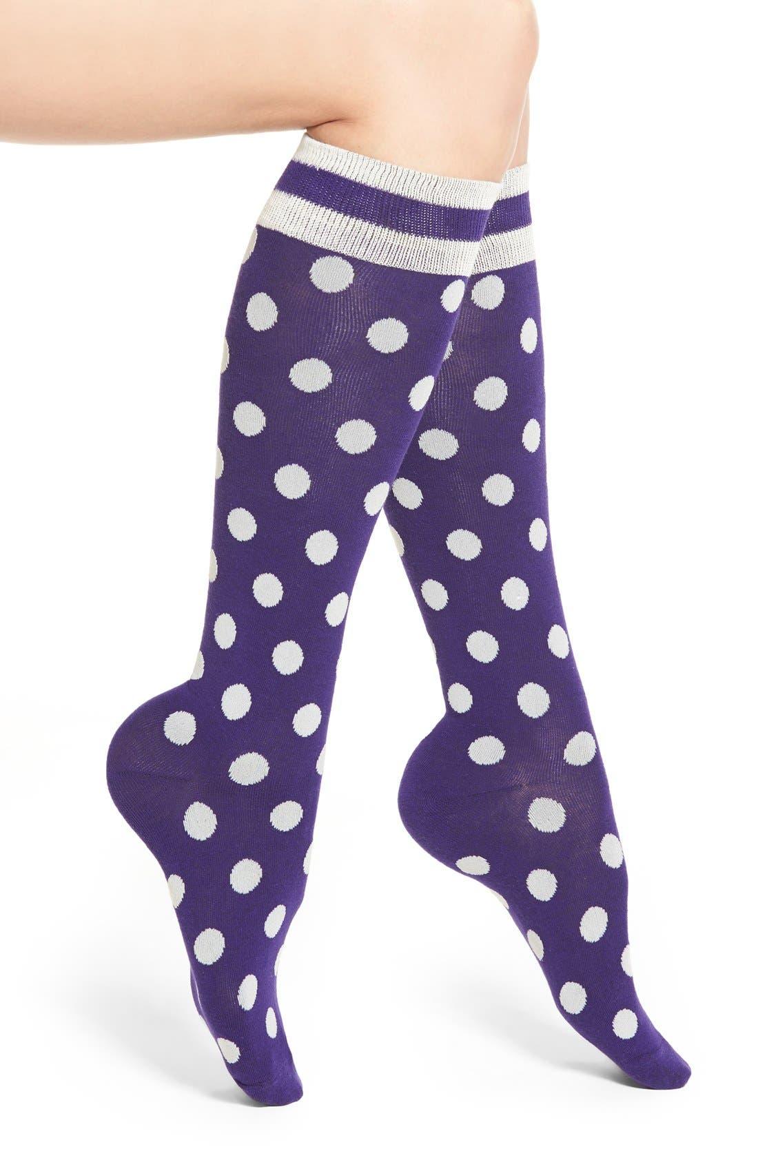 Alternate Image 1 Selected - kate spade new yoke polka dot knee high socks