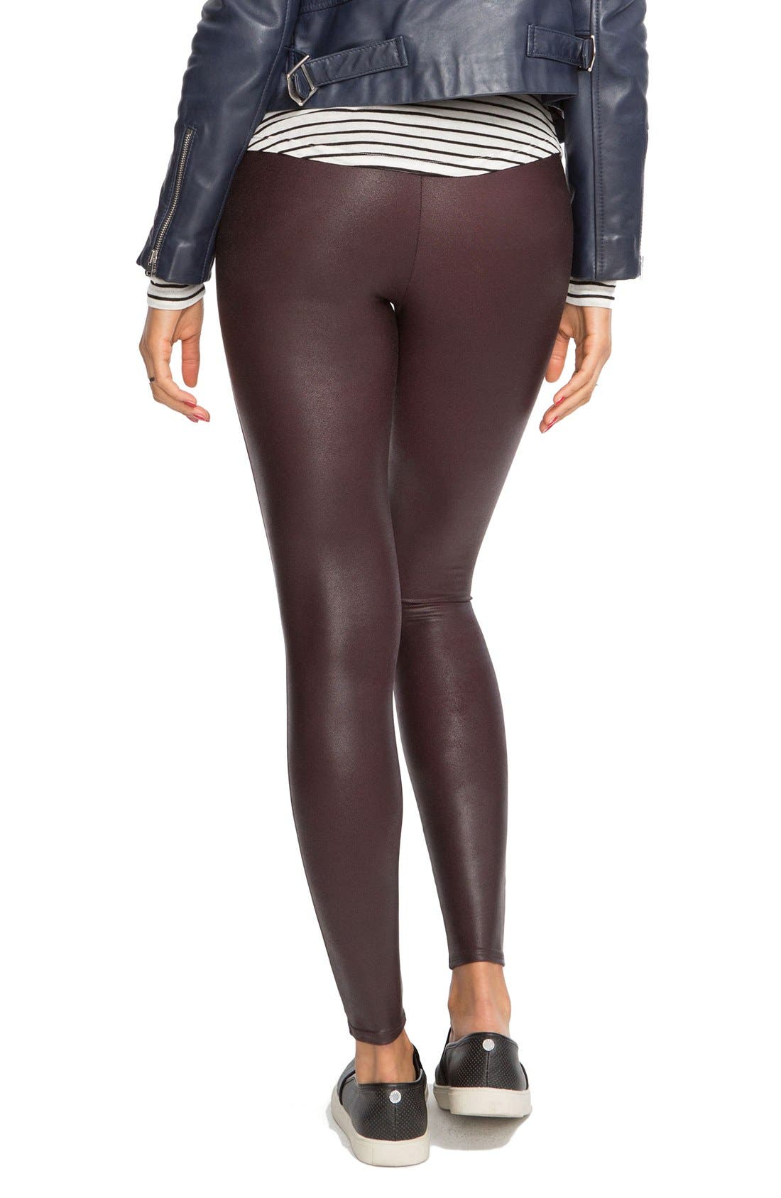 Faux Leather Leggings,                             Alternate thumbnail 4, color,                             Wine