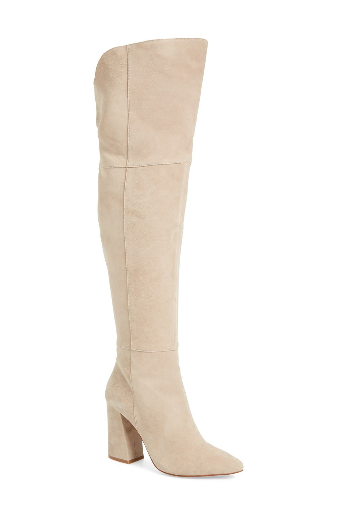 'Saffron' Over the Knee Boot,                             Main thumbnail 1, color,                             Grey Suede