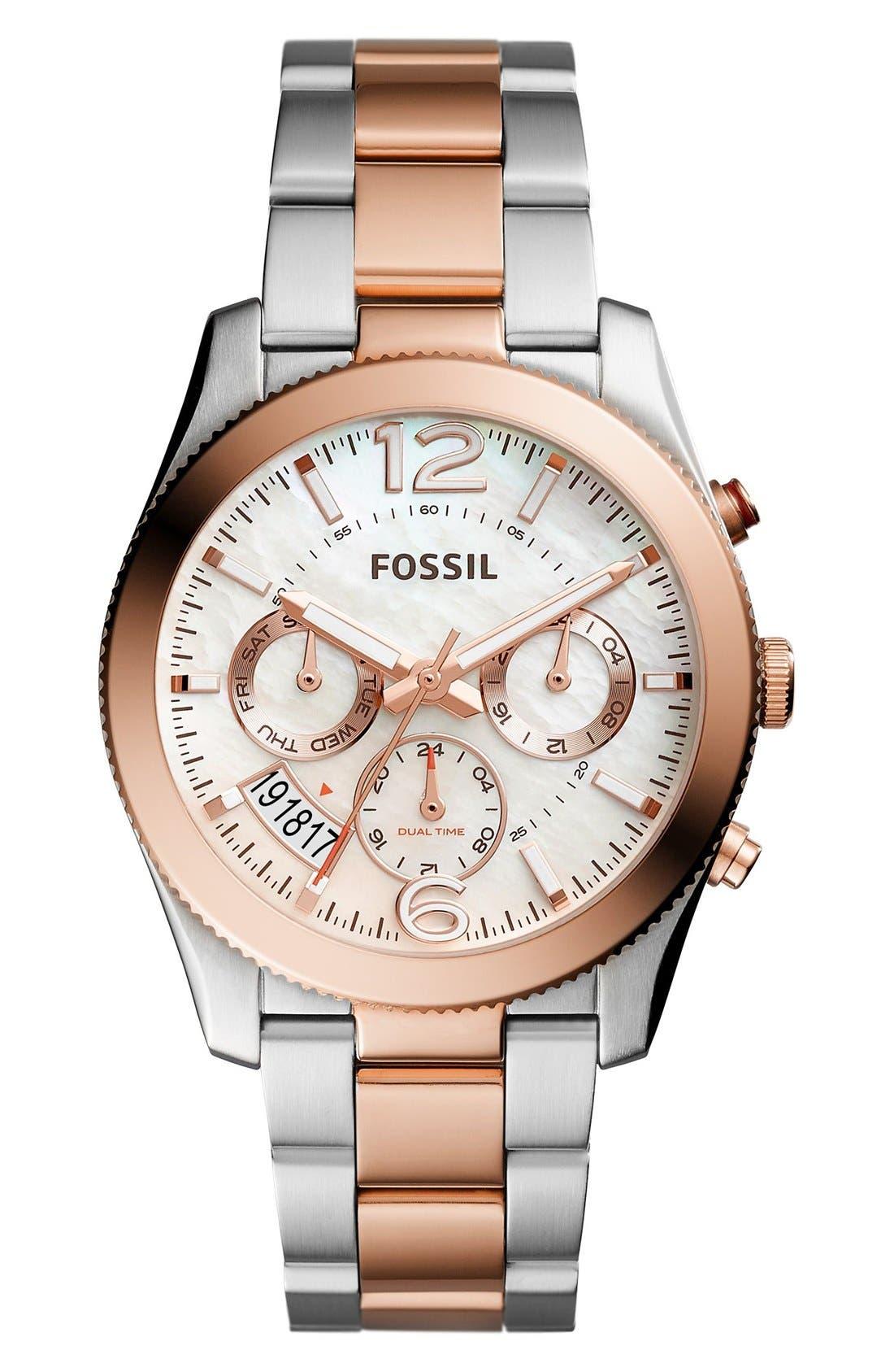 Main Image - Fossil 'Perfect Boyfriend' Multifunction Bracelet Watch, 39mm