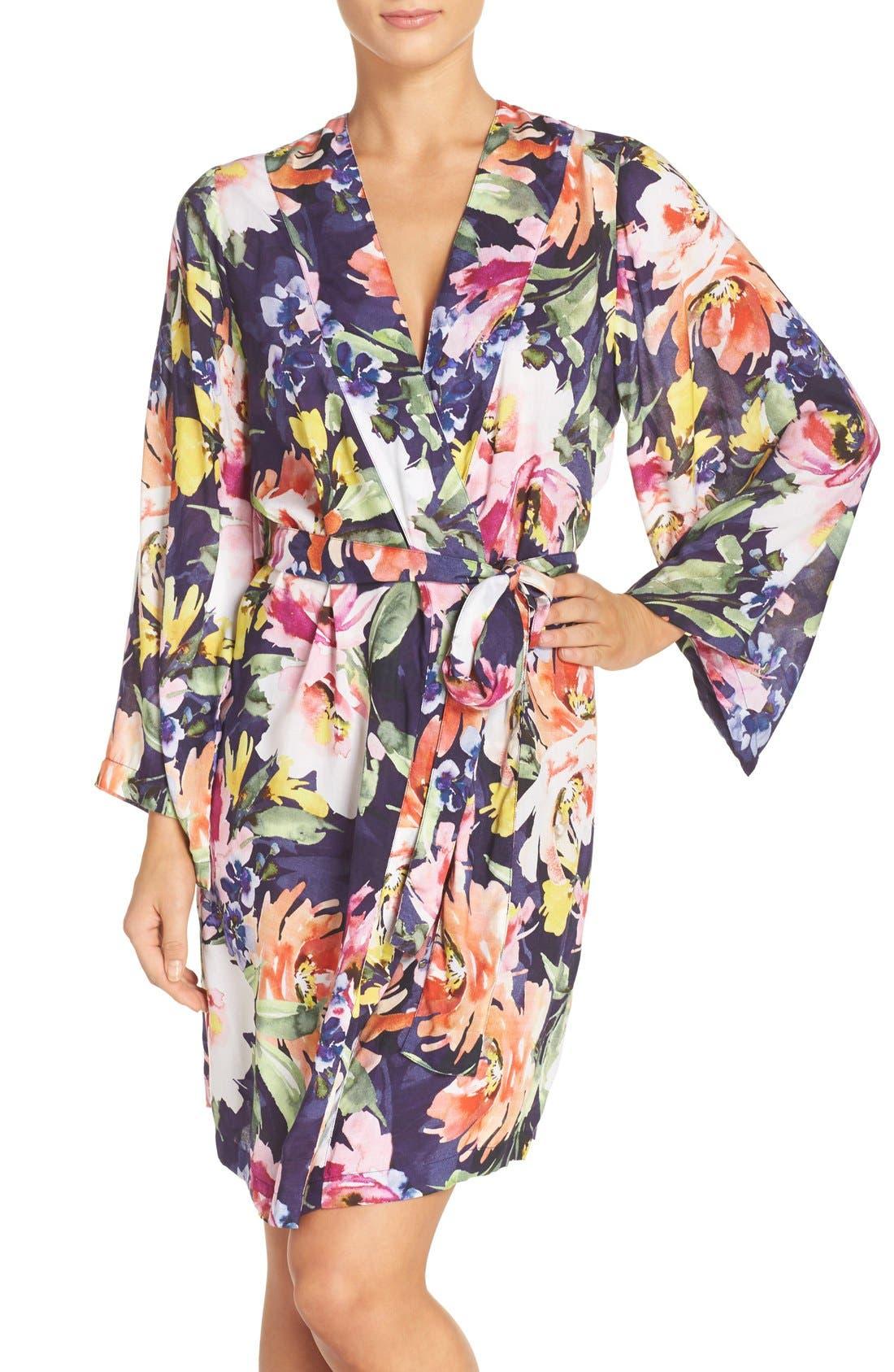 Floral Print Kimono Robe,                             Main thumbnail 1, color,                             Zephyr