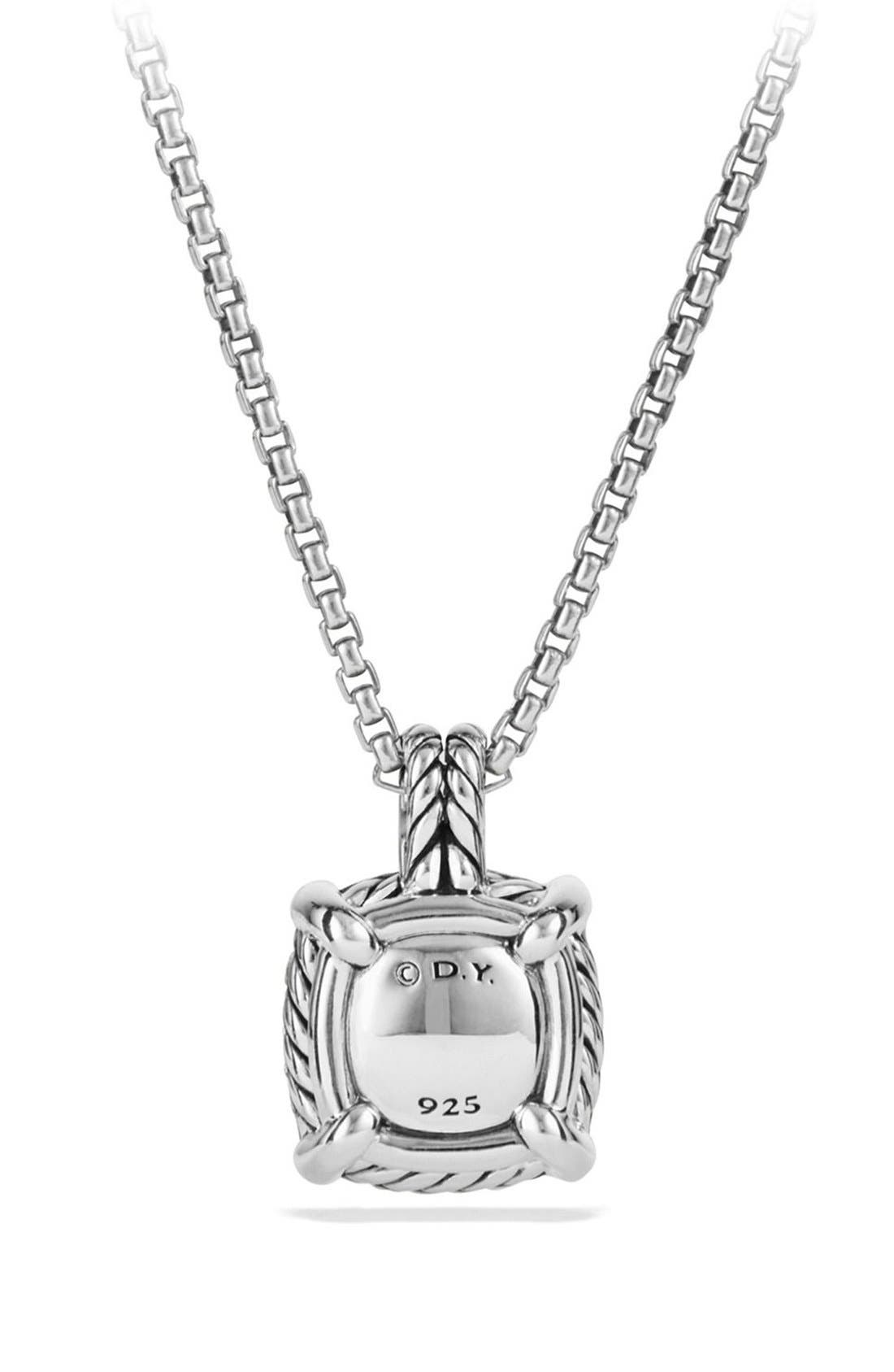 'Châtelaine' Small Pavé Bezel Pendant Necklace with Diamonds,                             Alternate thumbnail 2, color,                             Blue Topaz