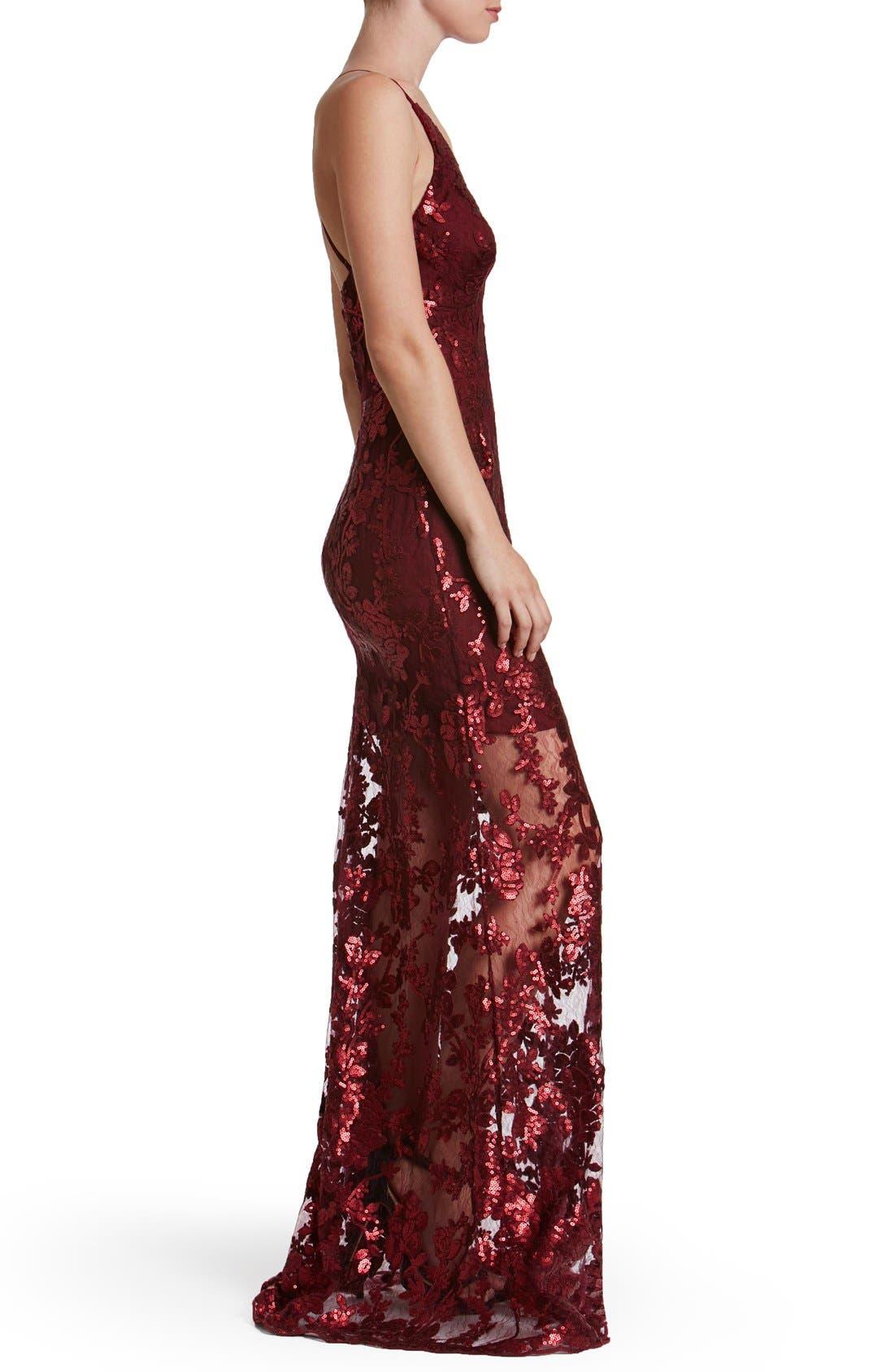 'Vivienne' Sequin Lace Gown,                             Alternate thumbnail 3, color,                             Berry