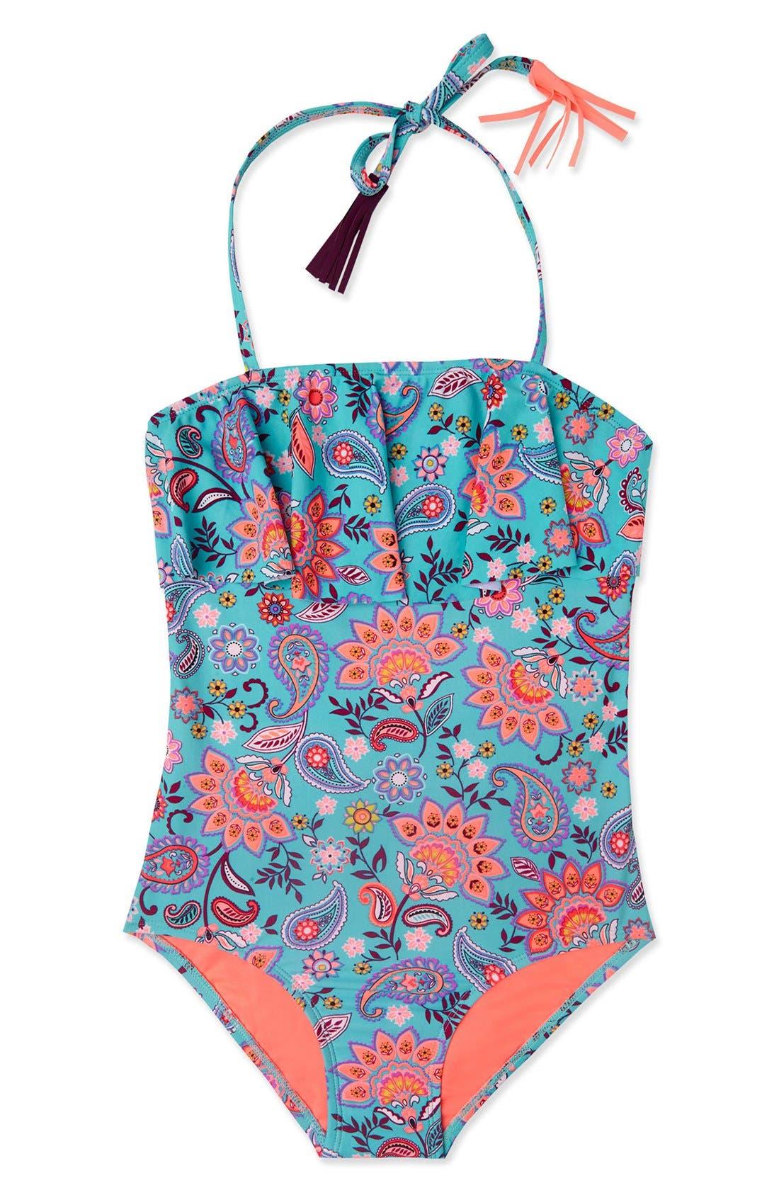 Main Image - Gossip Girl 'Le Corsaire' Print One-Piece Swimsuit (Big Girls)