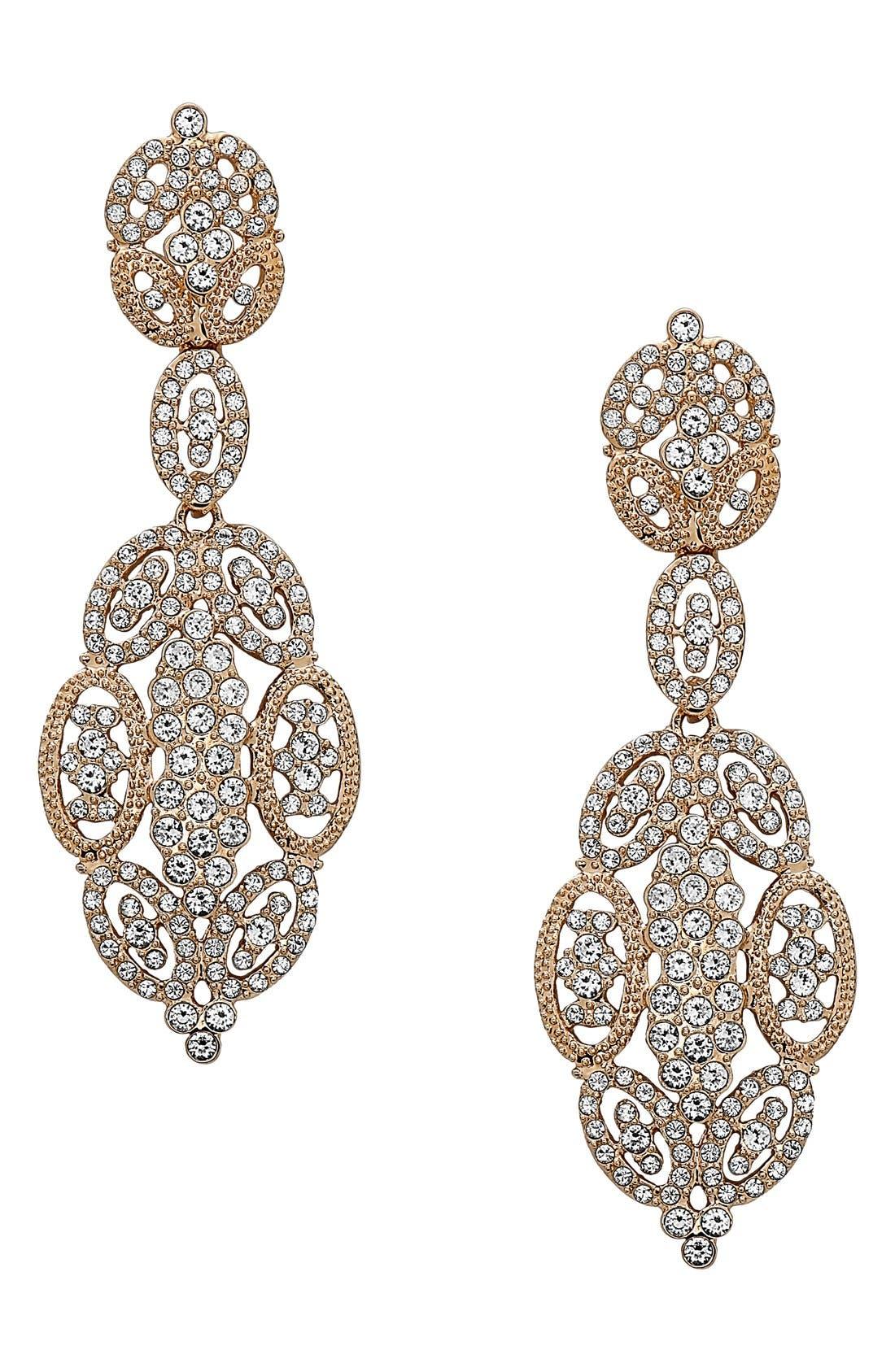 'Glamorous' Crystal Drop Earrings,                             Main thumbnail 1, color,                             Gold