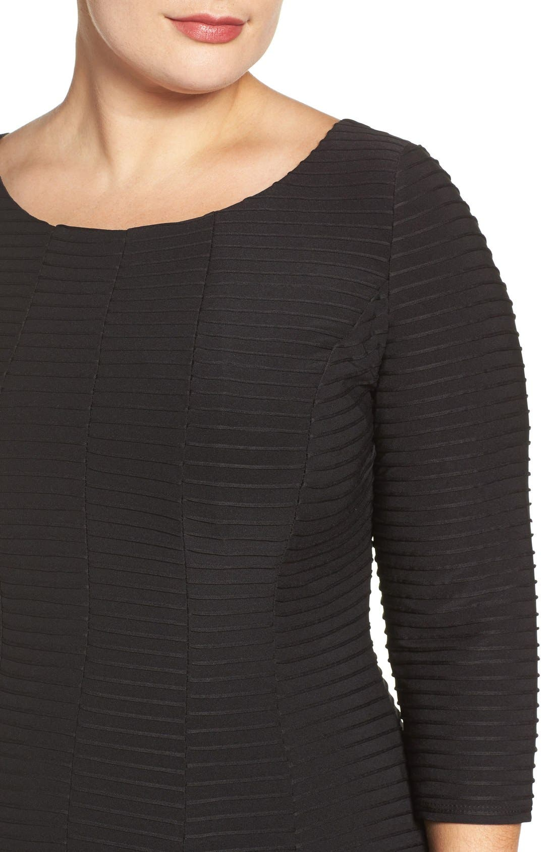 Alternate Image 5  - Gabby Skye Pintuck Knit Fit & Flare Dress (Plus Size)