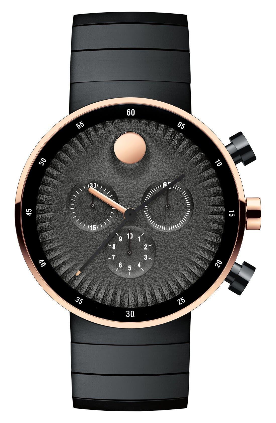 'Edge' Chronograph Bracelet Watch, 40mm,                         Main,                         color, Black/ Copper
