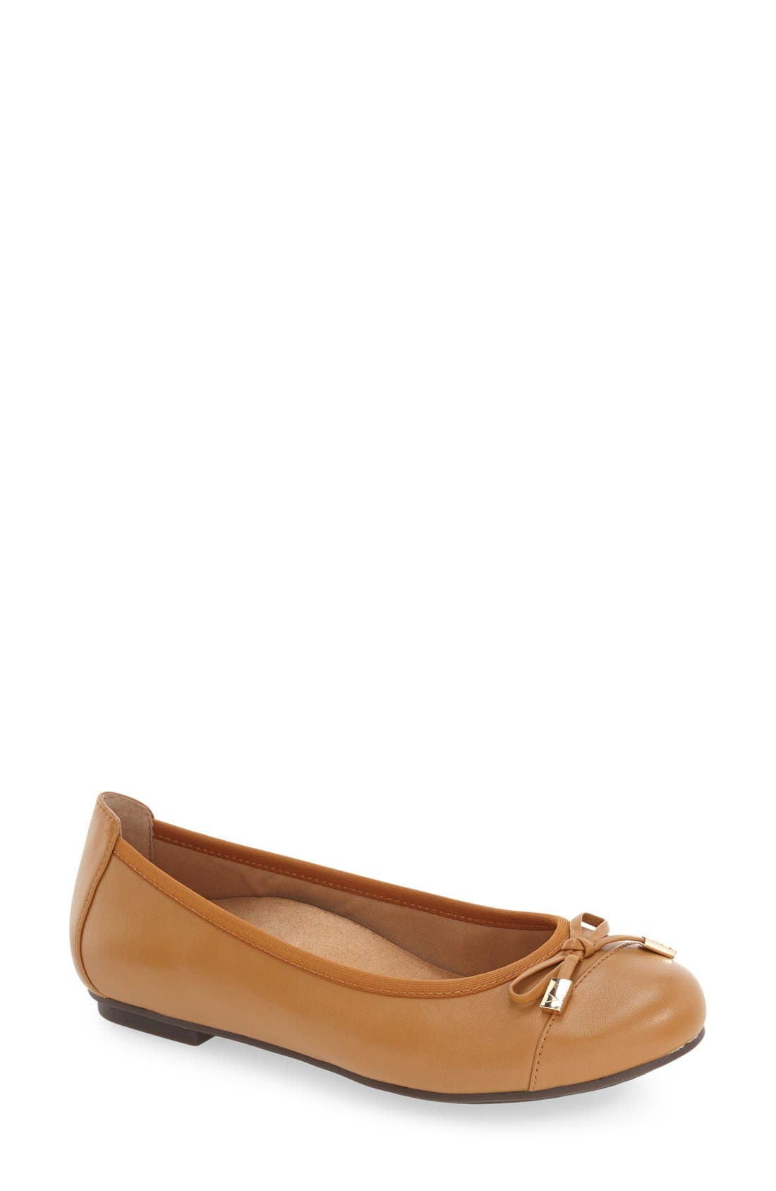'Minna' Leather Flat,                         Main,                         color, Tan Leather