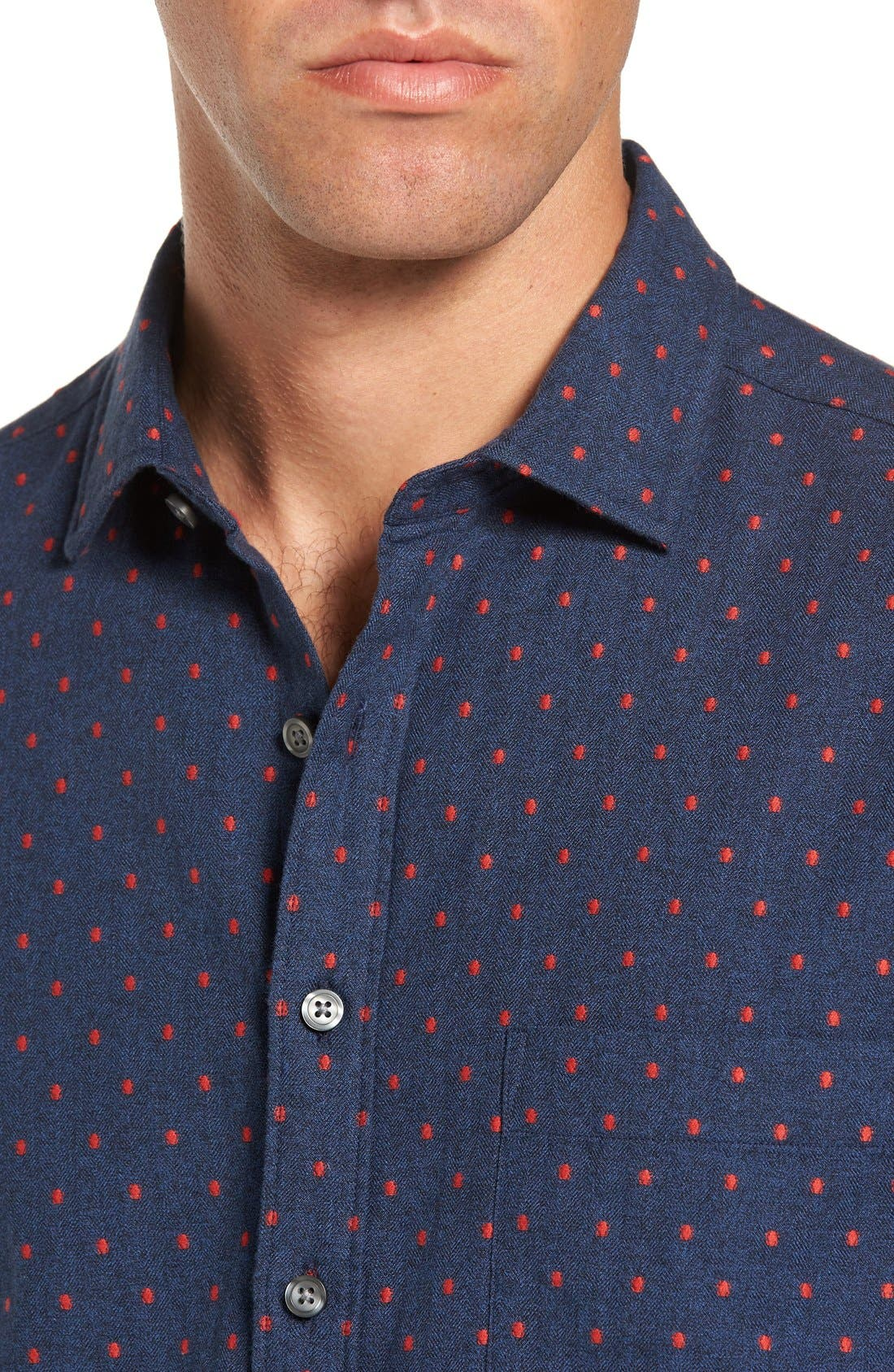 Annaby Sports Fit Dot Sport Shirt,                             Alternate thumbnail 2, color,                             Royal