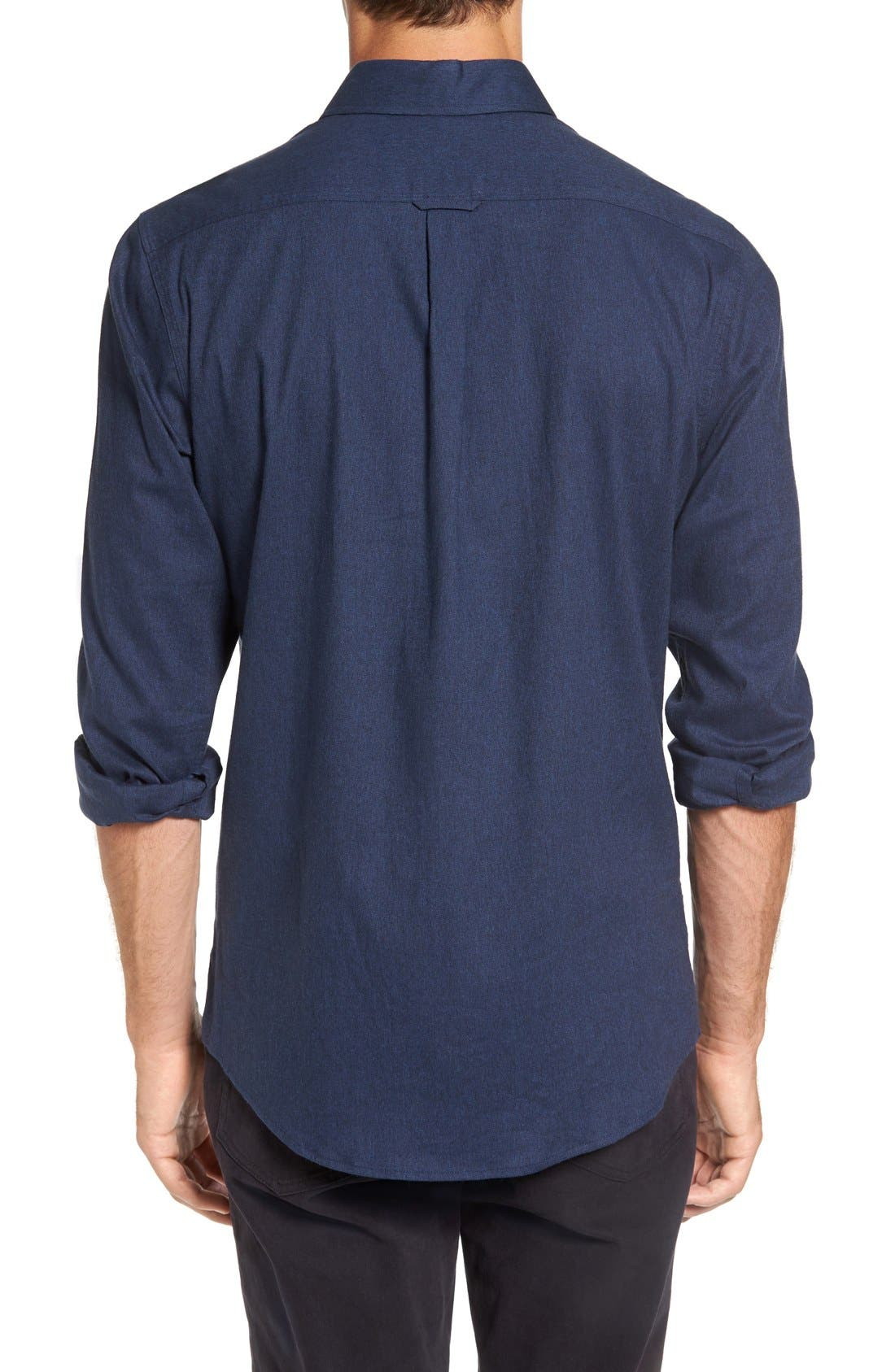 'Sinclair' Trim Fit Brushed Twill Sport Shirt,                             Alternate thumbnail 2, color,                             Indigo