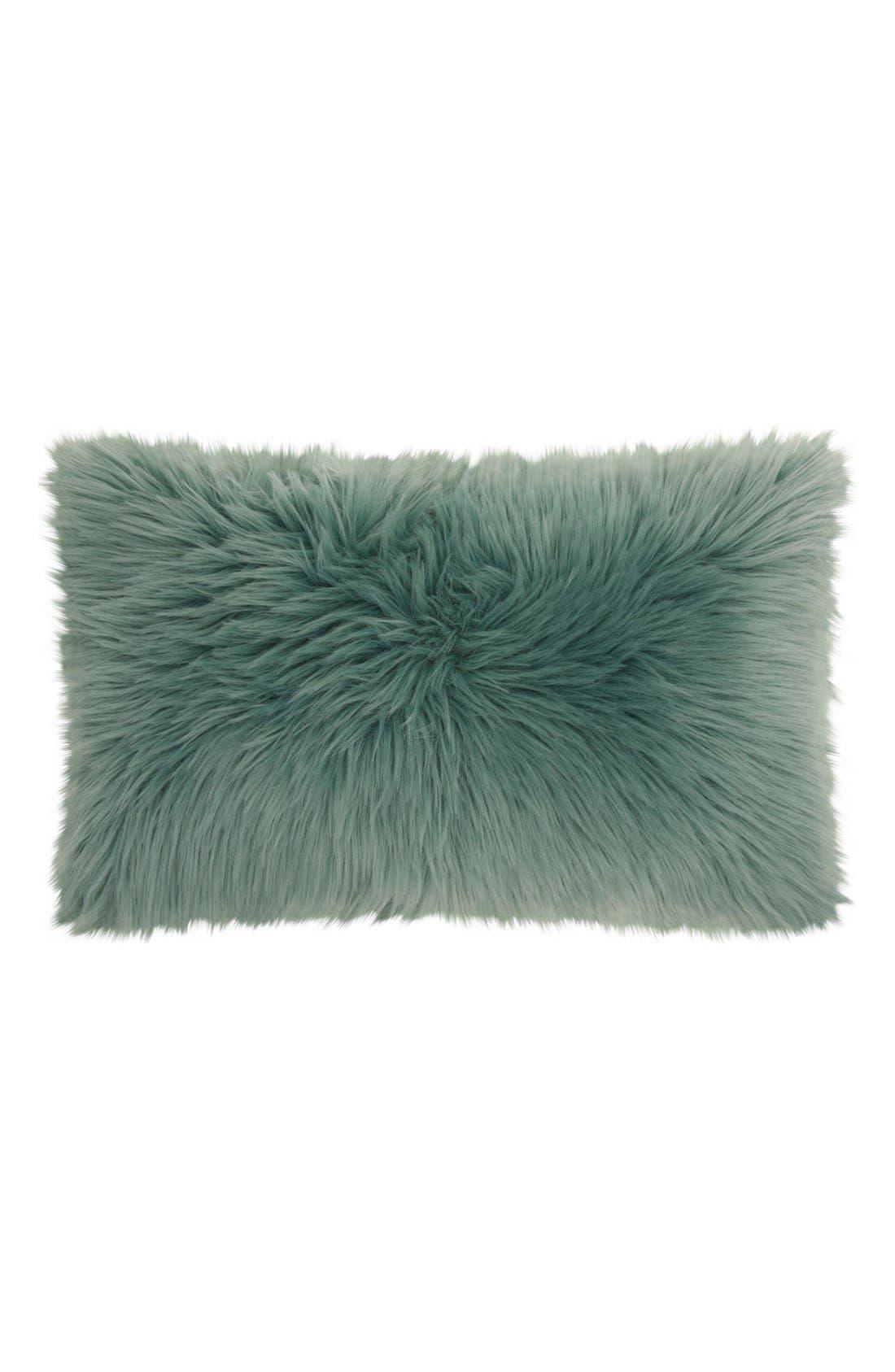 'Sumptuous' Faux Fur Accent Pillow,                             Main thumbnail 1, color,                             Celadon
