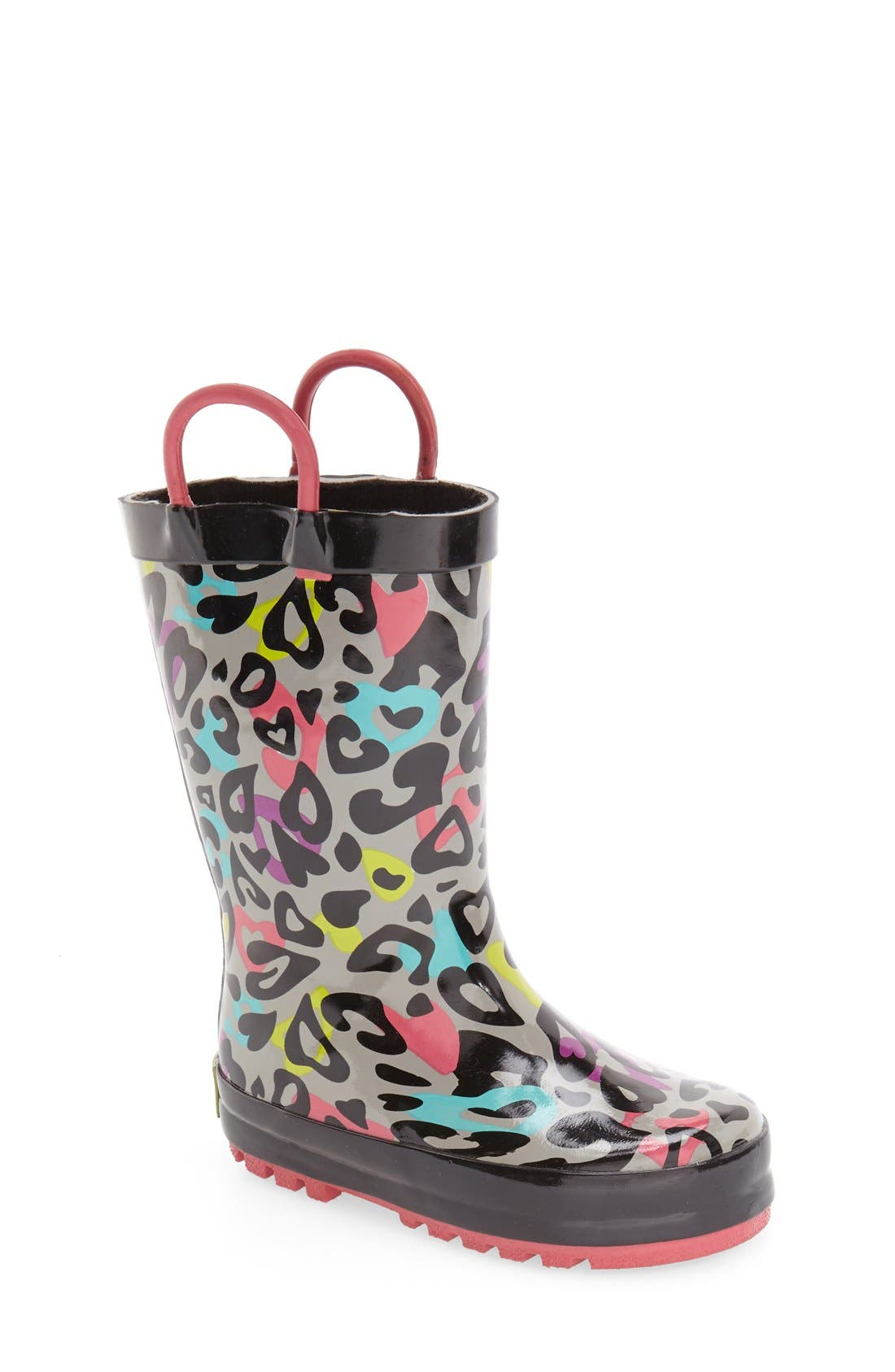 'Groovy Leopard' Rain Boot,                             Main thumbnail 1, color,                             Black