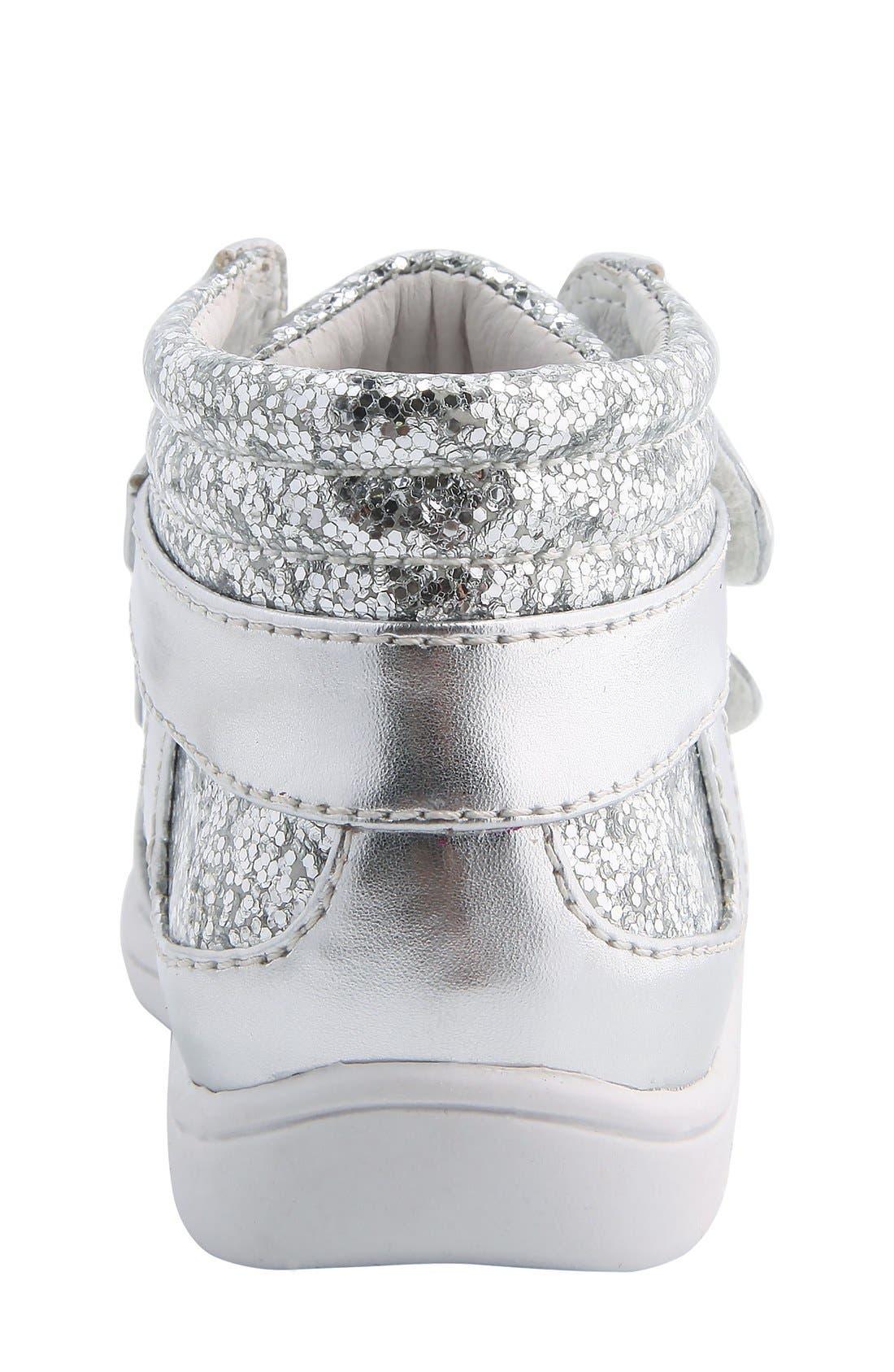 Nina 'Stardust' Metallic High Top Sneaker,                             Alternate thumbnail 4, color,                             Silver Metallic