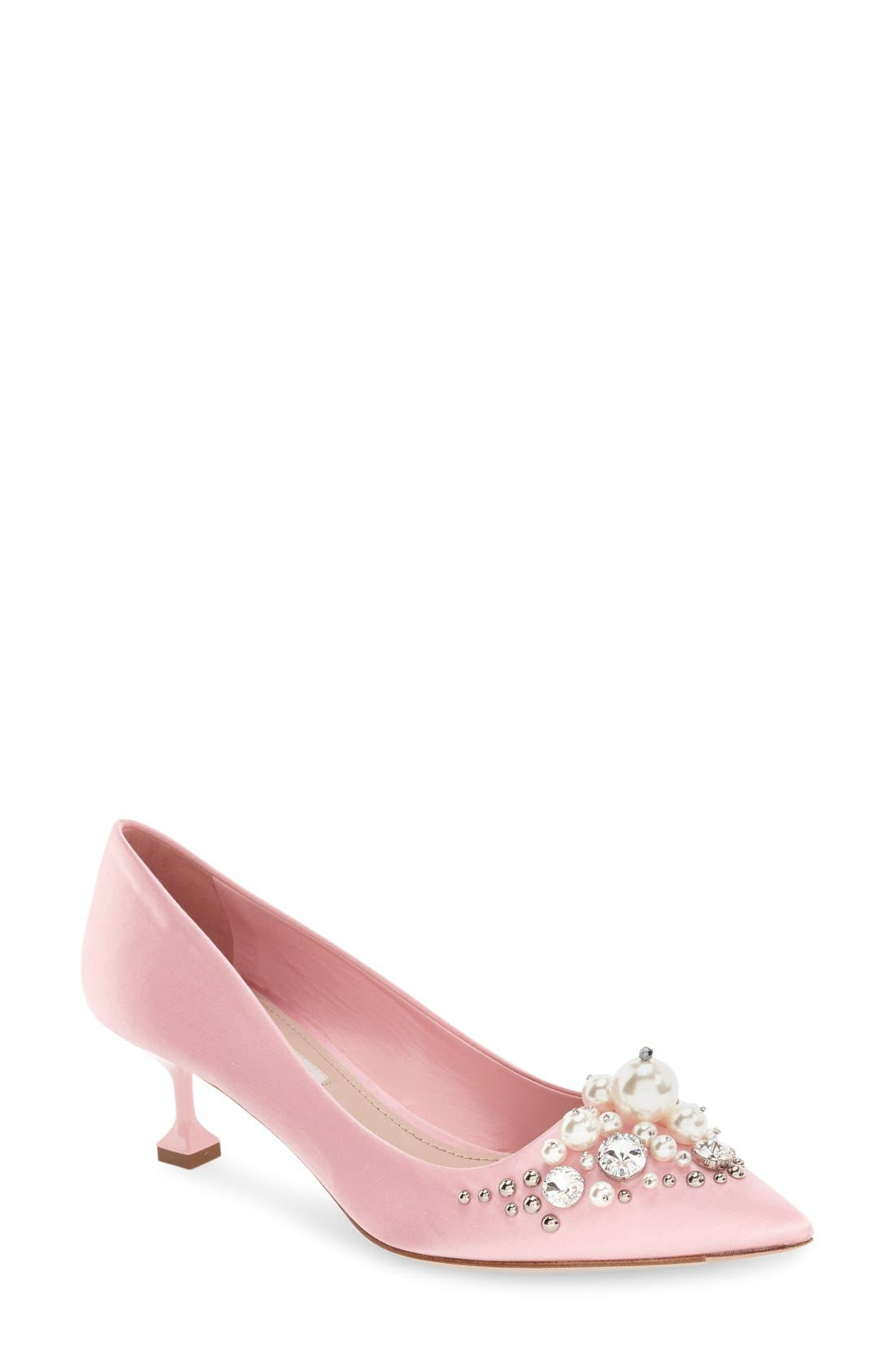 Miu Miu Embellished Pointy Toe Pump (Women)