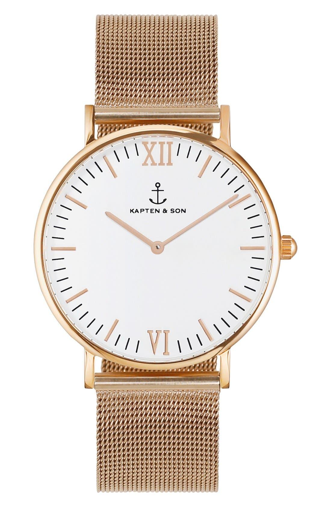 Campina Mesh Strap Watch, 36mm,                         Main,                         color, Rosegold/ White
