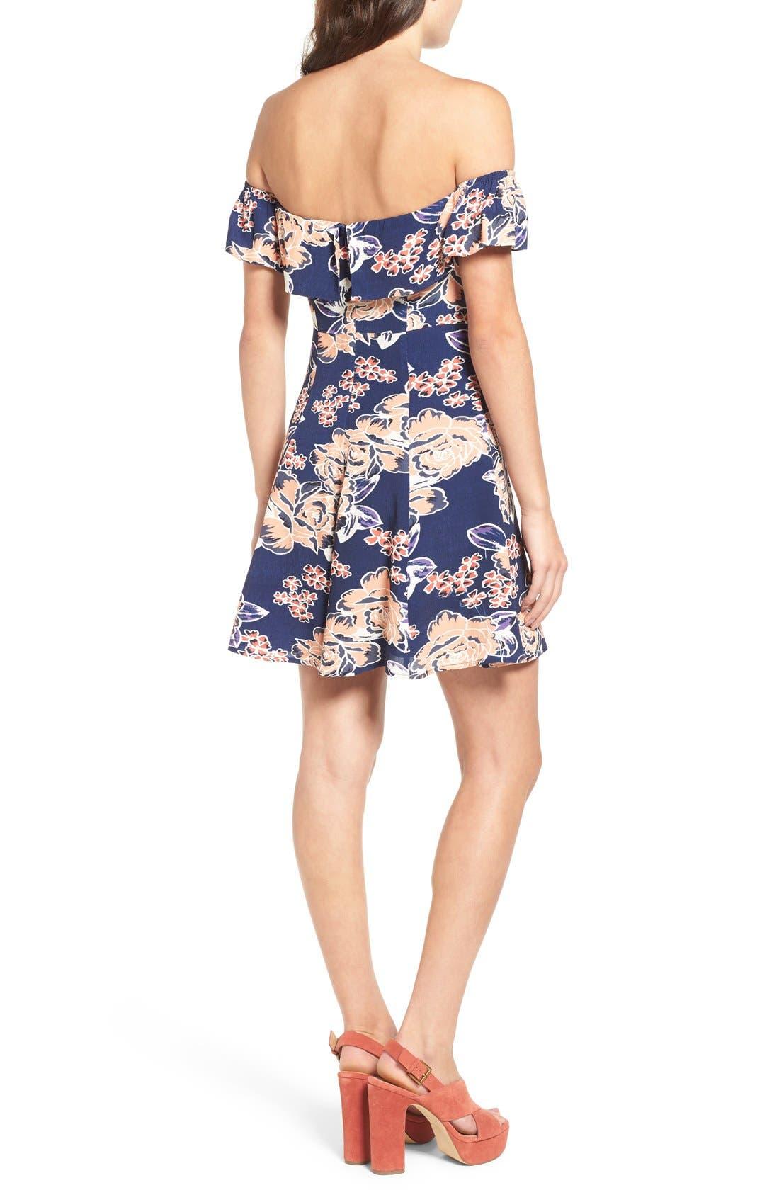 Alternate Image 3  - Lovers + Friends 'Vineyard' Floral Print Off the Shoulder Minidress
