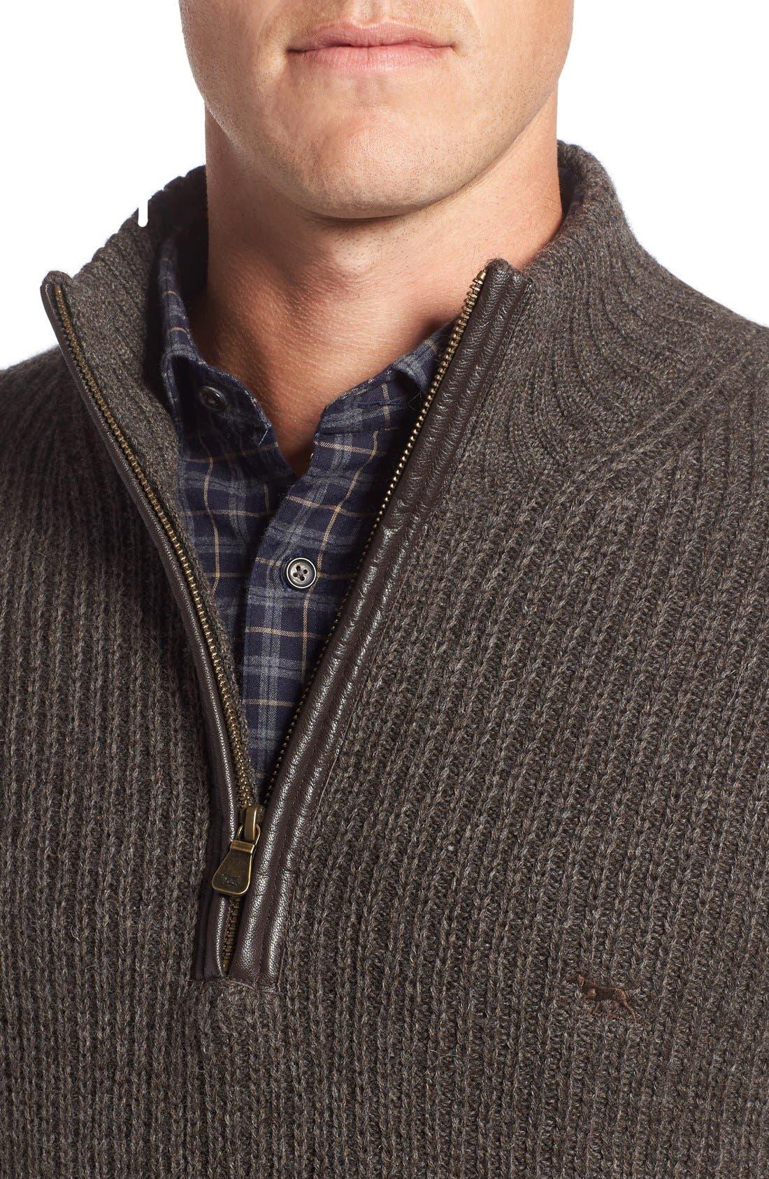 'Huka Lodge' Merino Wool Blend Quarter Zip Sweater,                             Alternate thumbnail 4, color,                             Dirt