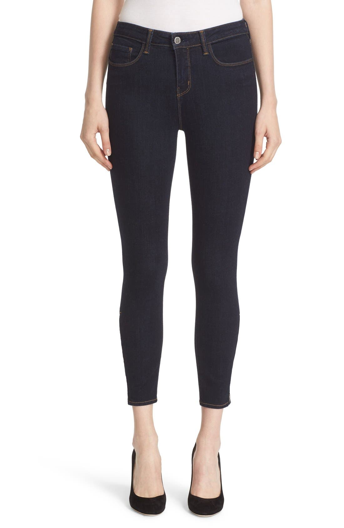 'Andrea' Ankle Zip Skinny Jeans,                             Main thumbnail 1, color,                             Midnight