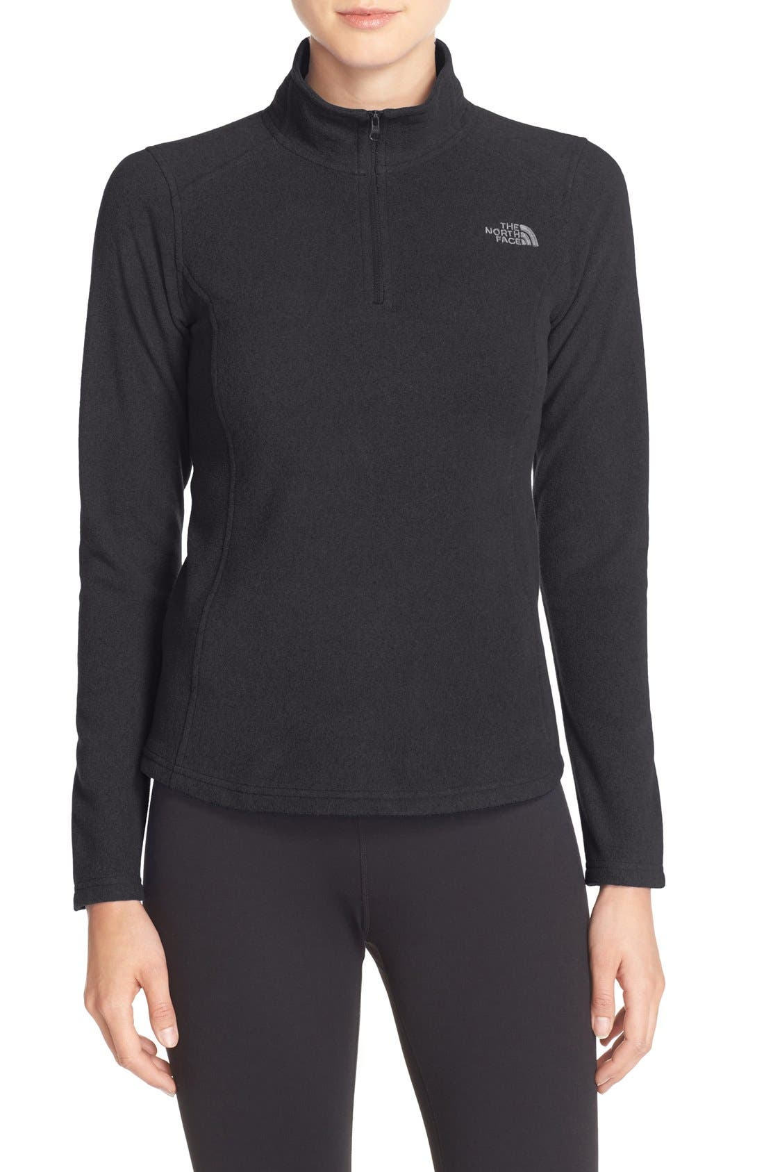 'Glacier' Quarter Zip Pullover,                             Main thumbnail 1, color,                             Tnf Black