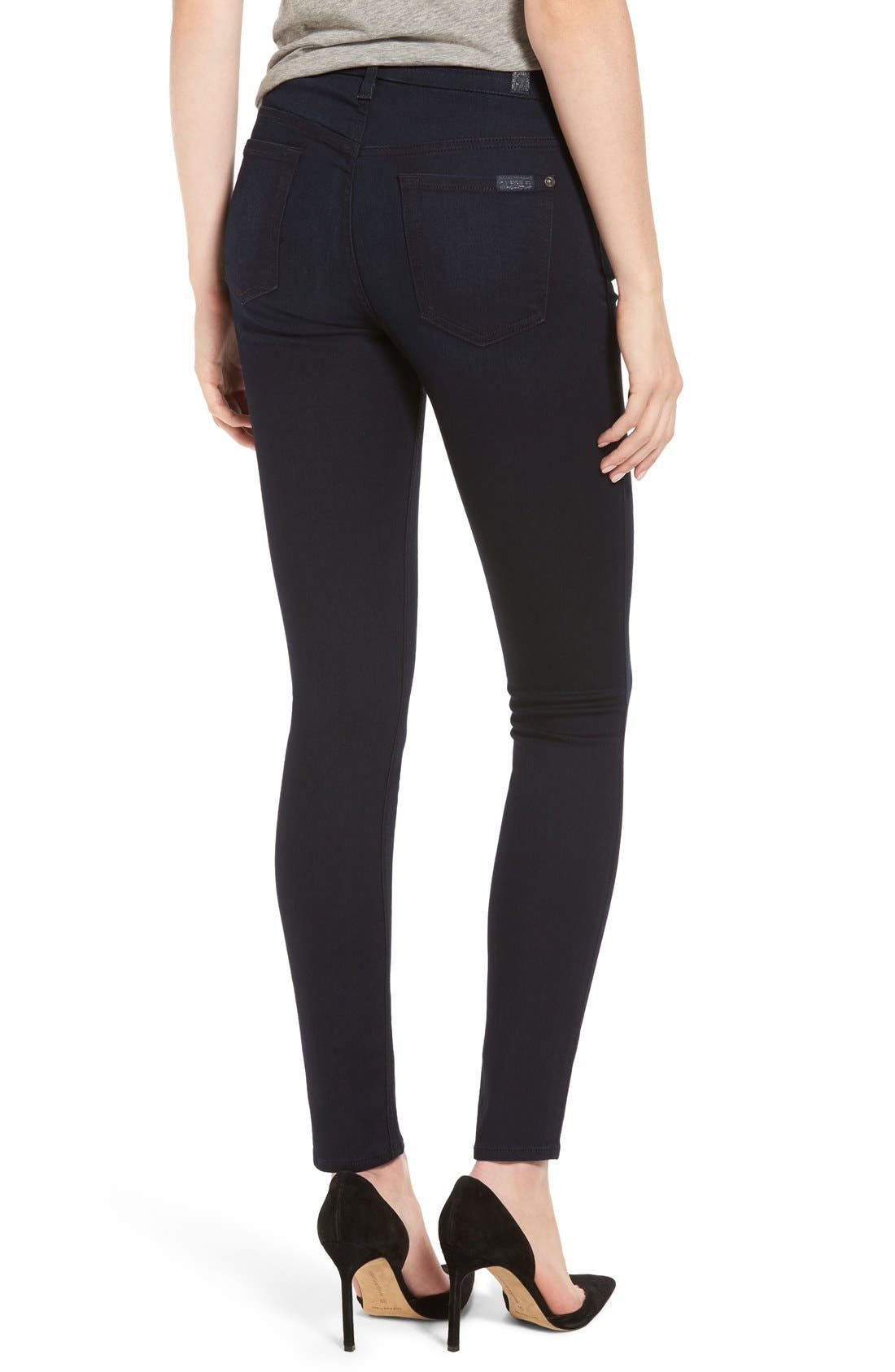 7 For All Mankind b(air) High Waist Skinny Jeans,                             Alternate thumbnail 2, color,                             Blue/ Black River Thames