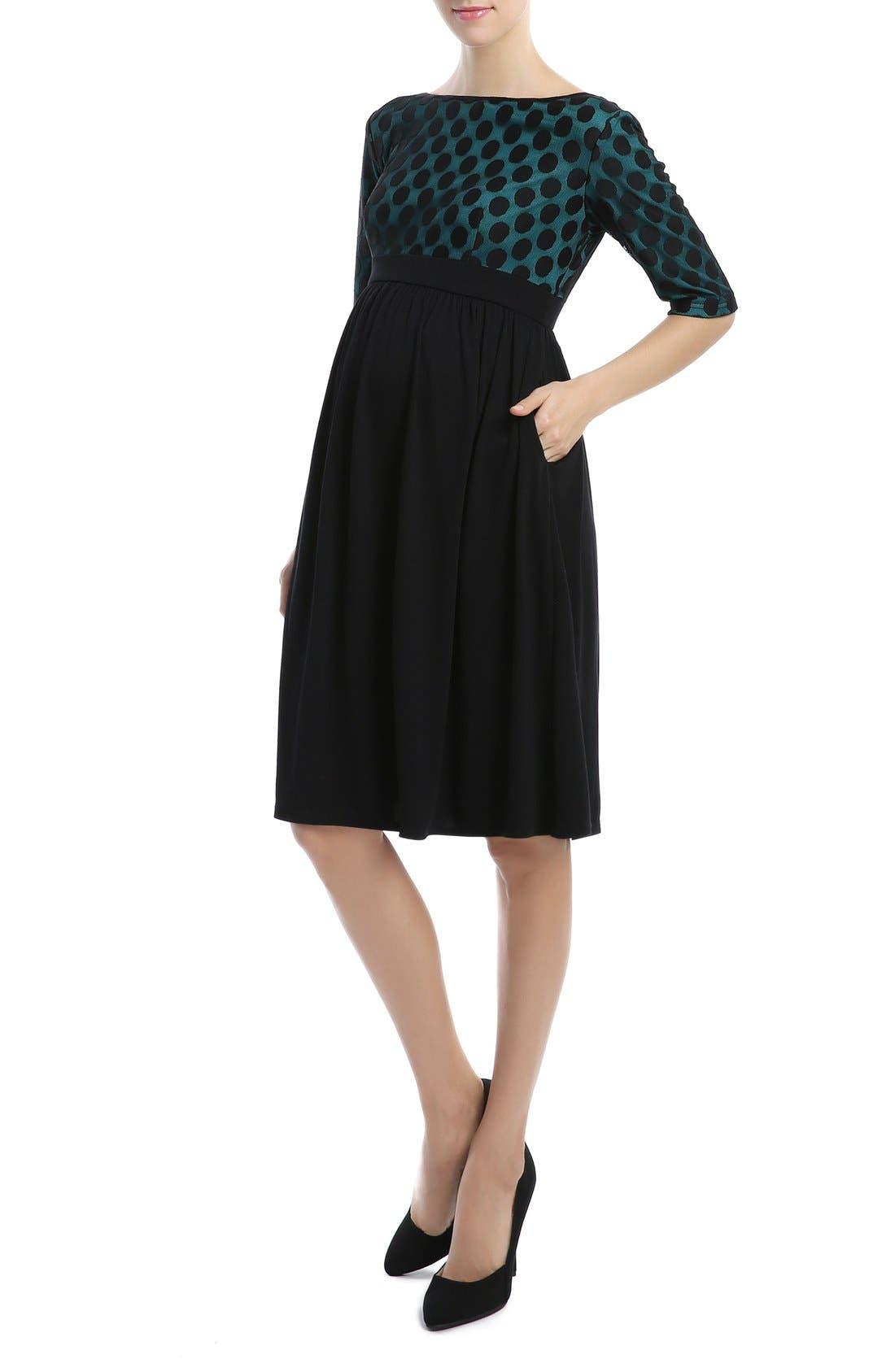 'Charlie' Maternity Dress,                             Alternate thumbnail 4, color,                             Black/ Teal