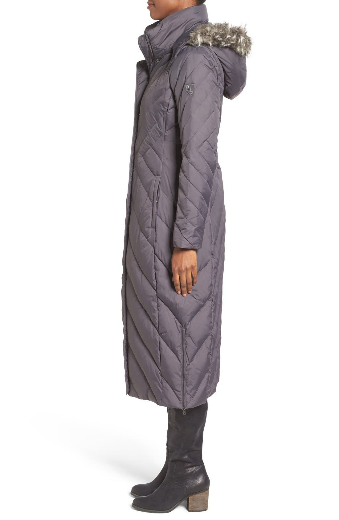 Alternate Image 3  - Larry Levine Down & Feather Fill Maxi Coat with Faux Fur Trim Hood