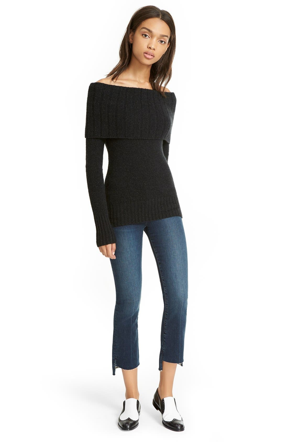 'Le Crop Mini Boot' Staggered Hem Crop Jeans,                             Alternate thumbnail 2, color,                             Topsail