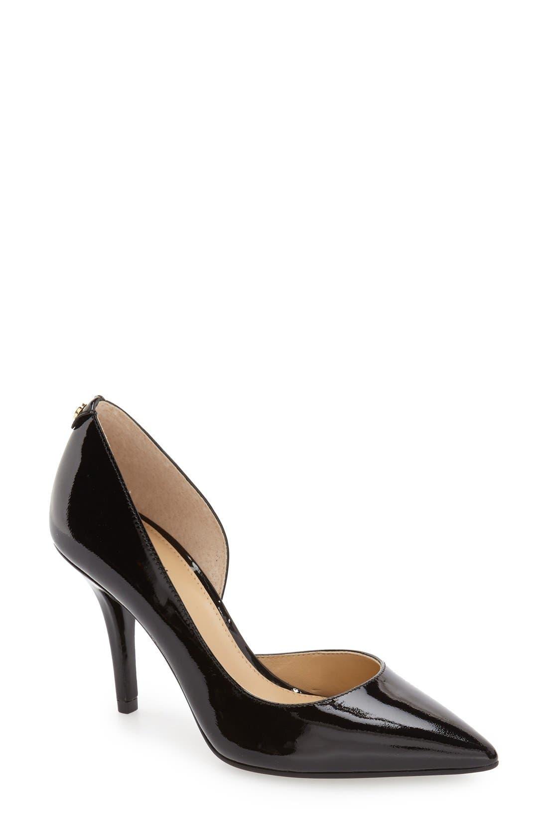 'Nathalie Flex' Half D'Orsay Pump,                             Main thumbnail 1, color,                             Black Patent Leather