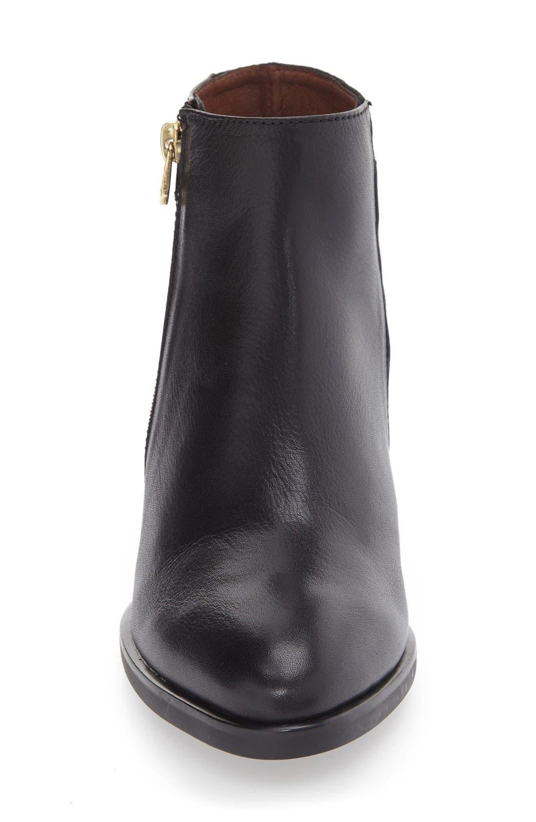 Lakisha Block Heel Bootie,                             Alternate thumbnail 3, color,                             Black Leather