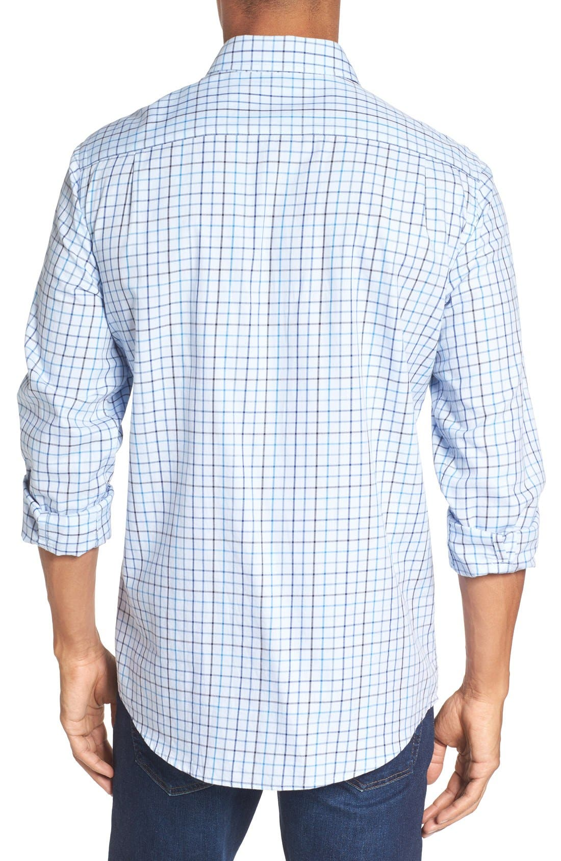 'Lyford' Sports Fit Check Sport Shirt,                             Alternate thumbnail 2, color,                             Sky
