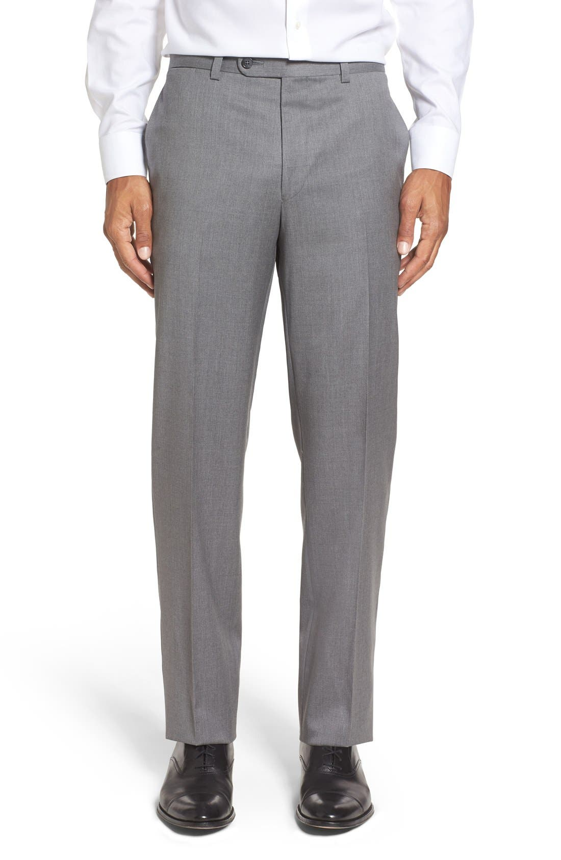 Riviera Flat Front Solid Wool Trousers