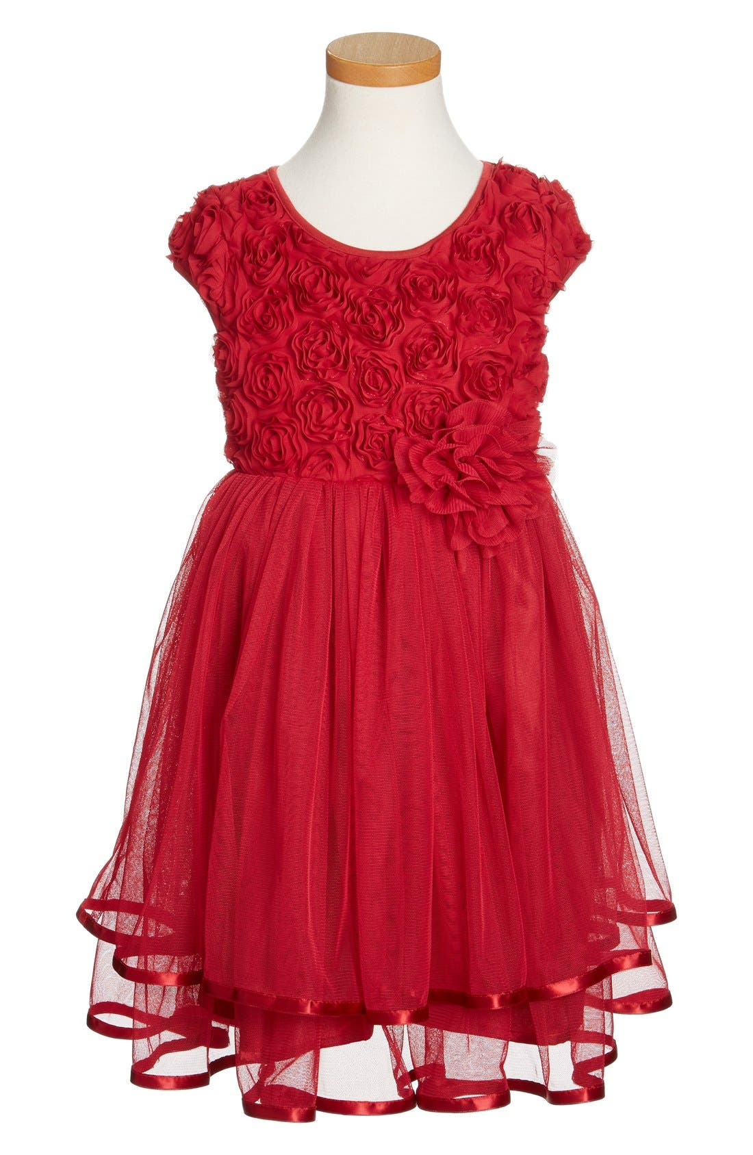 Ribbon Rosette Tulle Dress,                             Main thumbnail 1, color,                             Burgundy