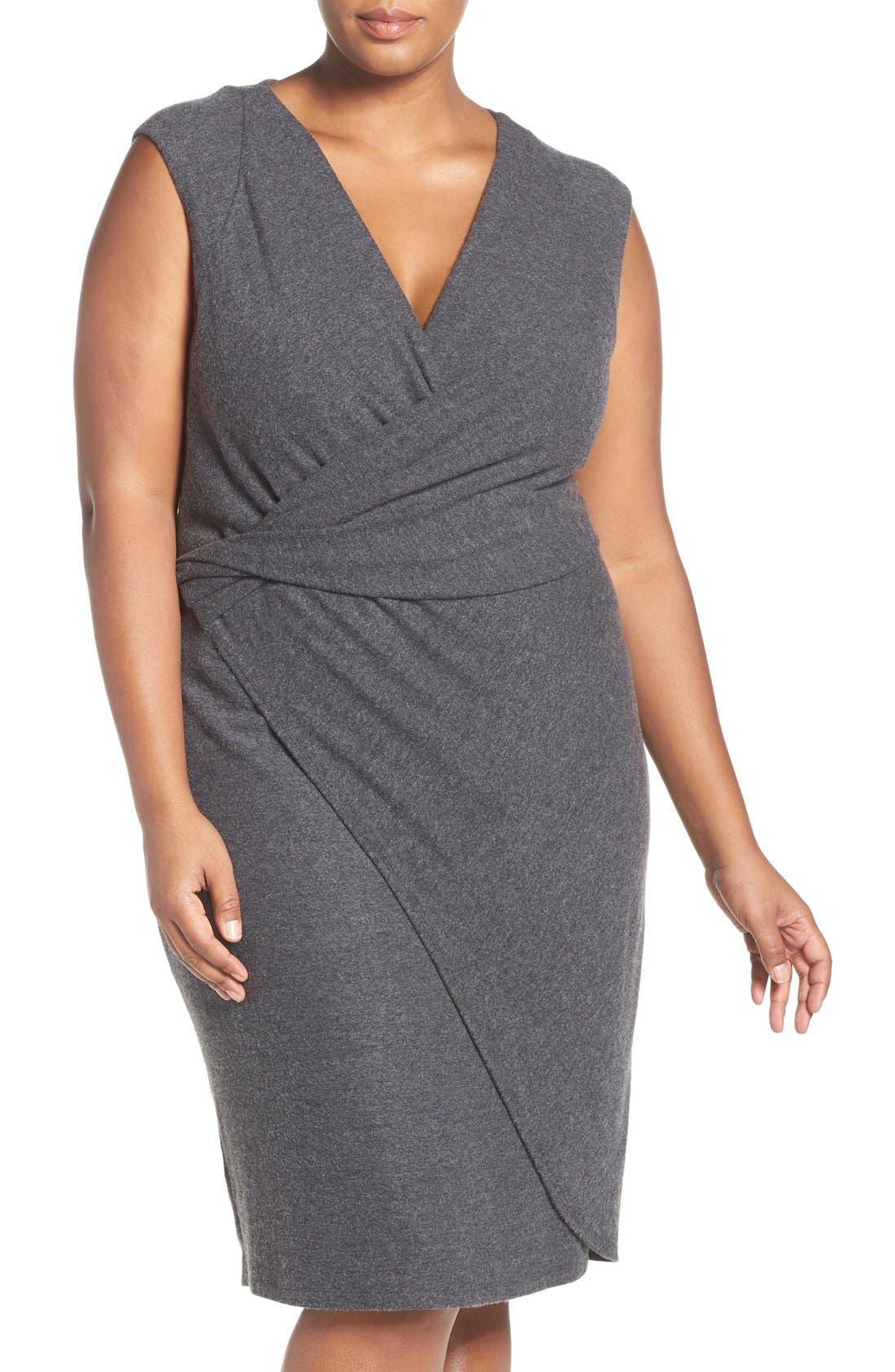 'Analyse' Faux Wrap Sheath Dress,                             Main thumbnail 1, color,                             Charcoal