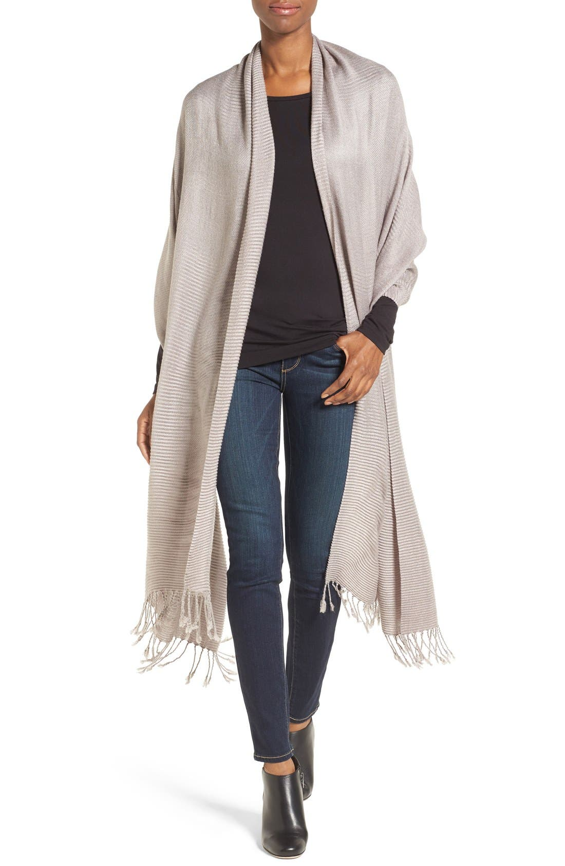 Fringe Textured Wrap,                             Main thumbnail 1, color,                             Grey Gull
