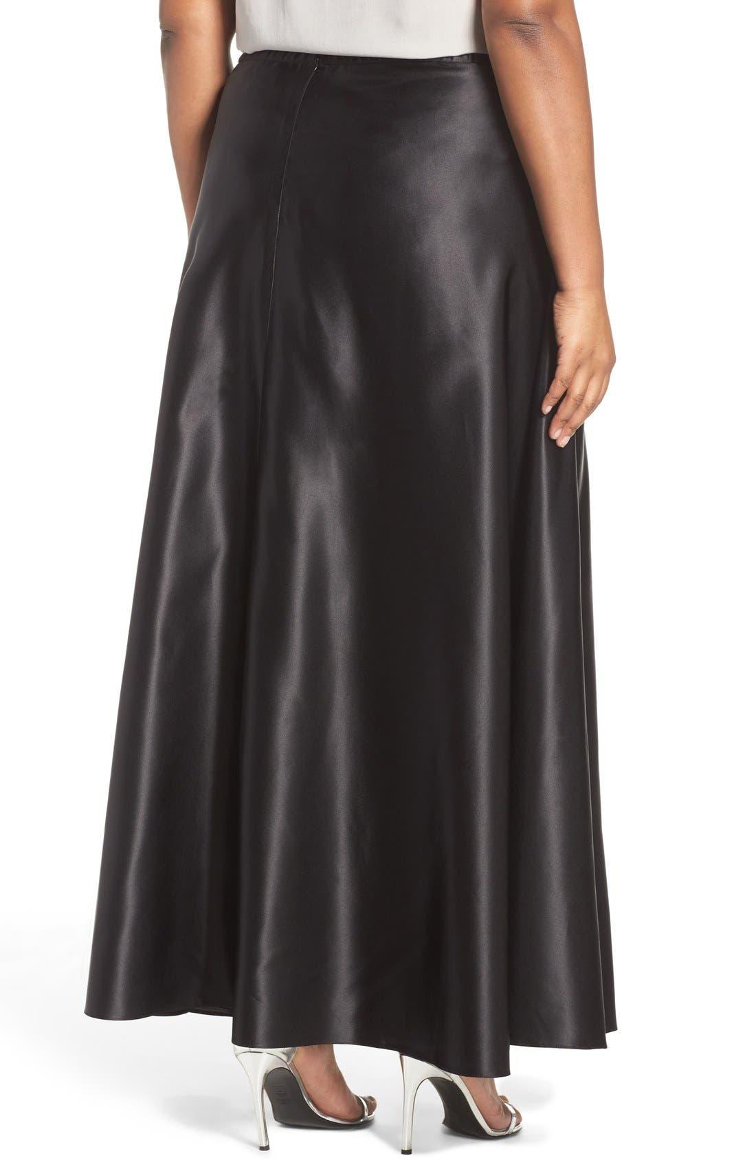 Alternate Image 2  - Alex Evenings Satin Long Circle Skirt (Plus Size)