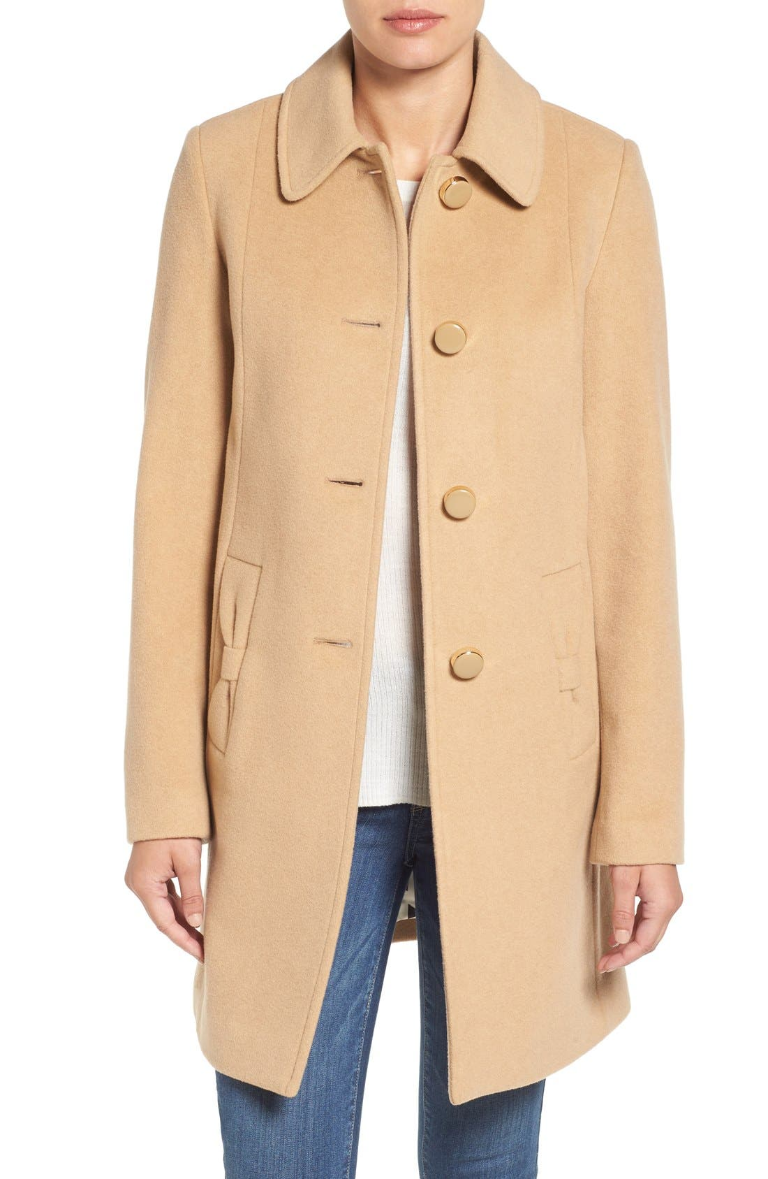 wool blend walking coat,                         Main,                         color, Camel