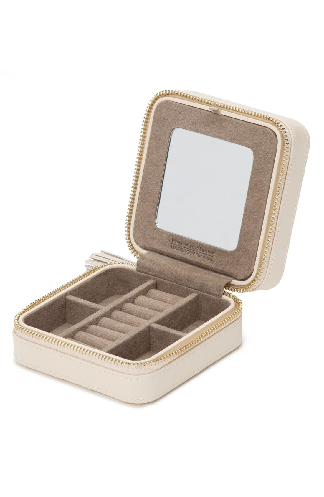 'Caroline' Travel Jewelry Case,                             Alternate thumbnail 2, color,                             Ivory