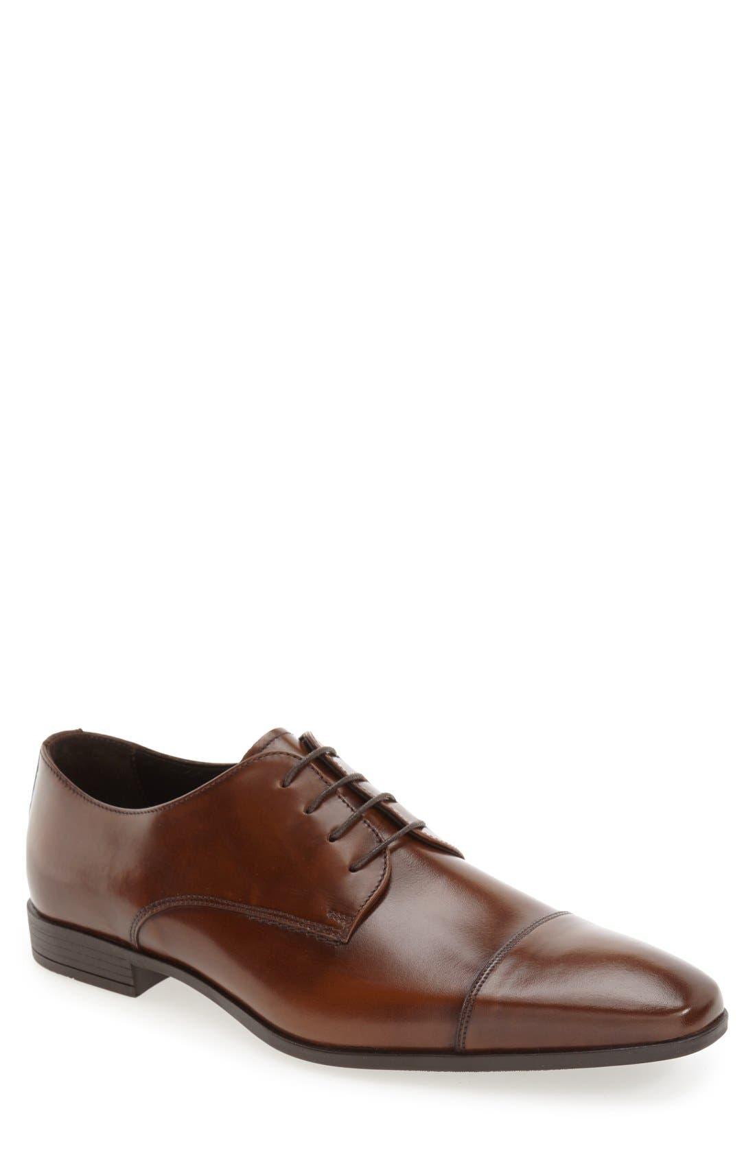 'Stark' Cap Toe Derby,                         Main,                         color, Tan Leather