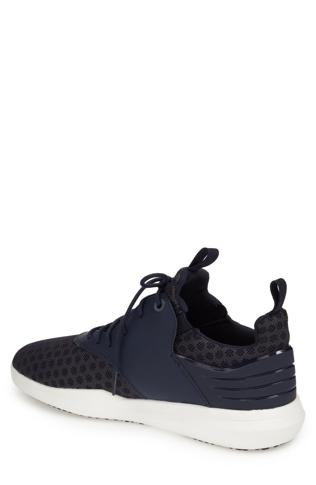 Deross Sneaker,                             Alternate thumbnail 3, color,                             Navy Leather