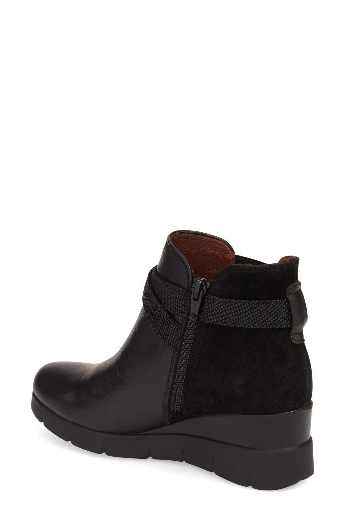 'Larae' Wedge Bootie,                             Alternate thumbnail 2, color,                             Soho Black Leather
