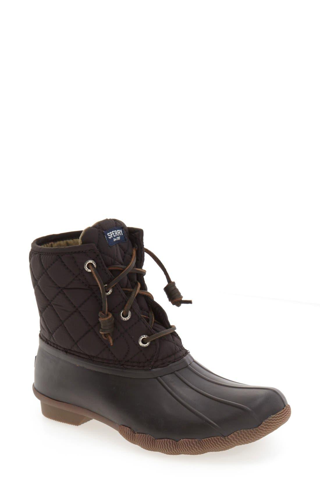 'Saltwater' Waterproof Rain Boot,                             Main thumbnail 1, color,                             Black