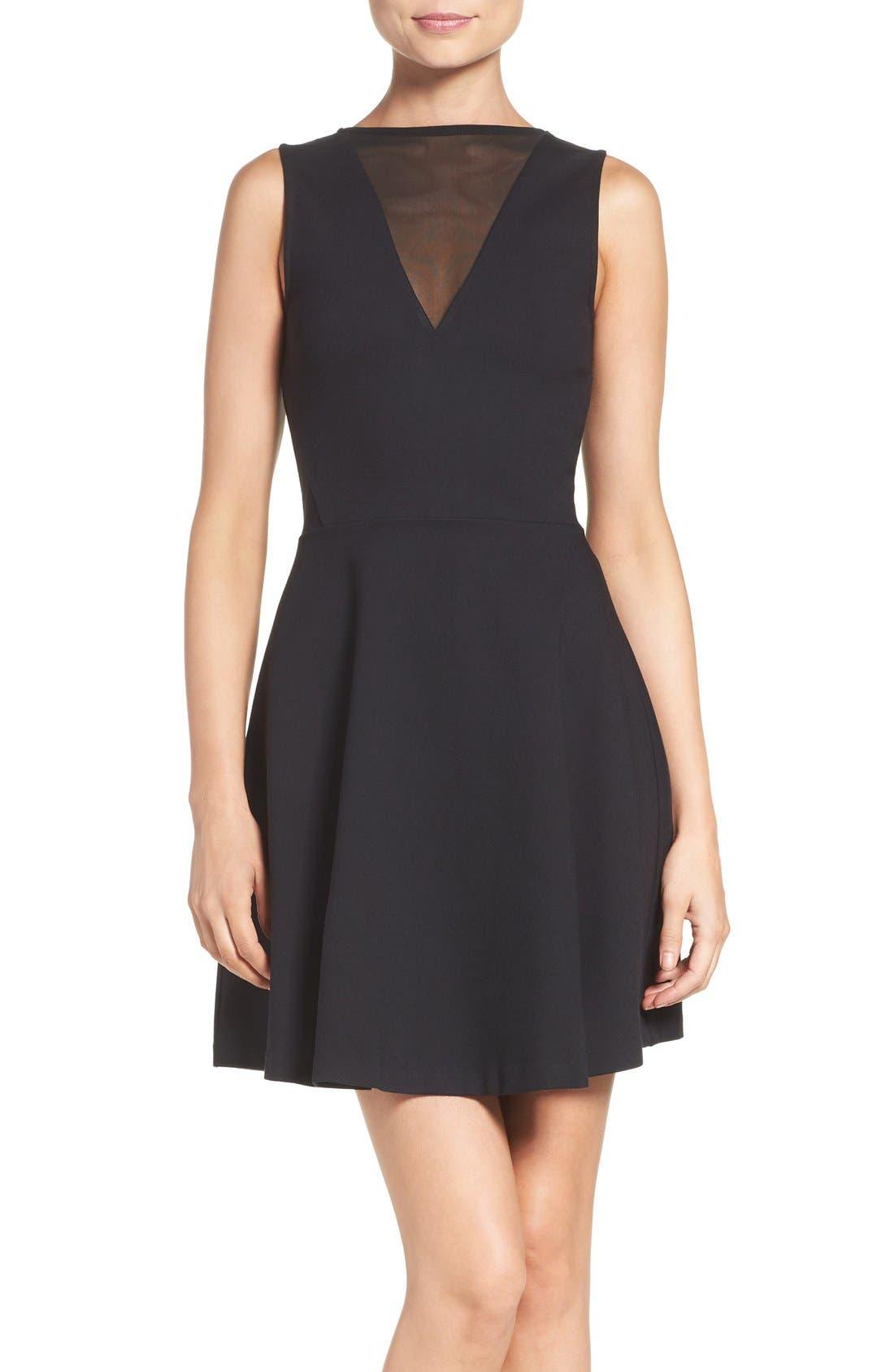 'Viola' Stretch Fit & Flare Dress,                         Main,                         color, Black