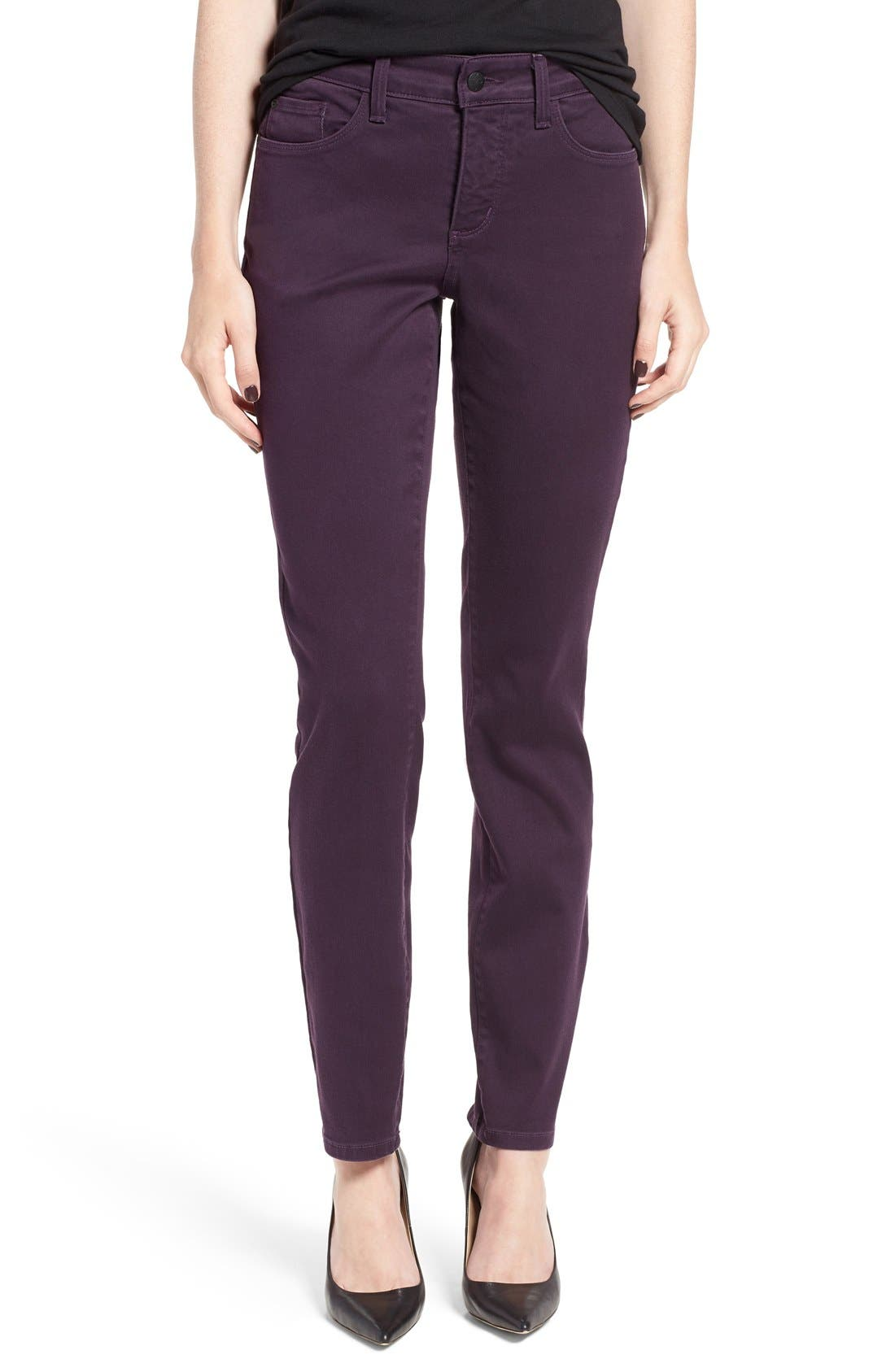 Alina Colored Stretch Skinny Jeans,                             Main thumbnail 1, color,                             Deep Violette