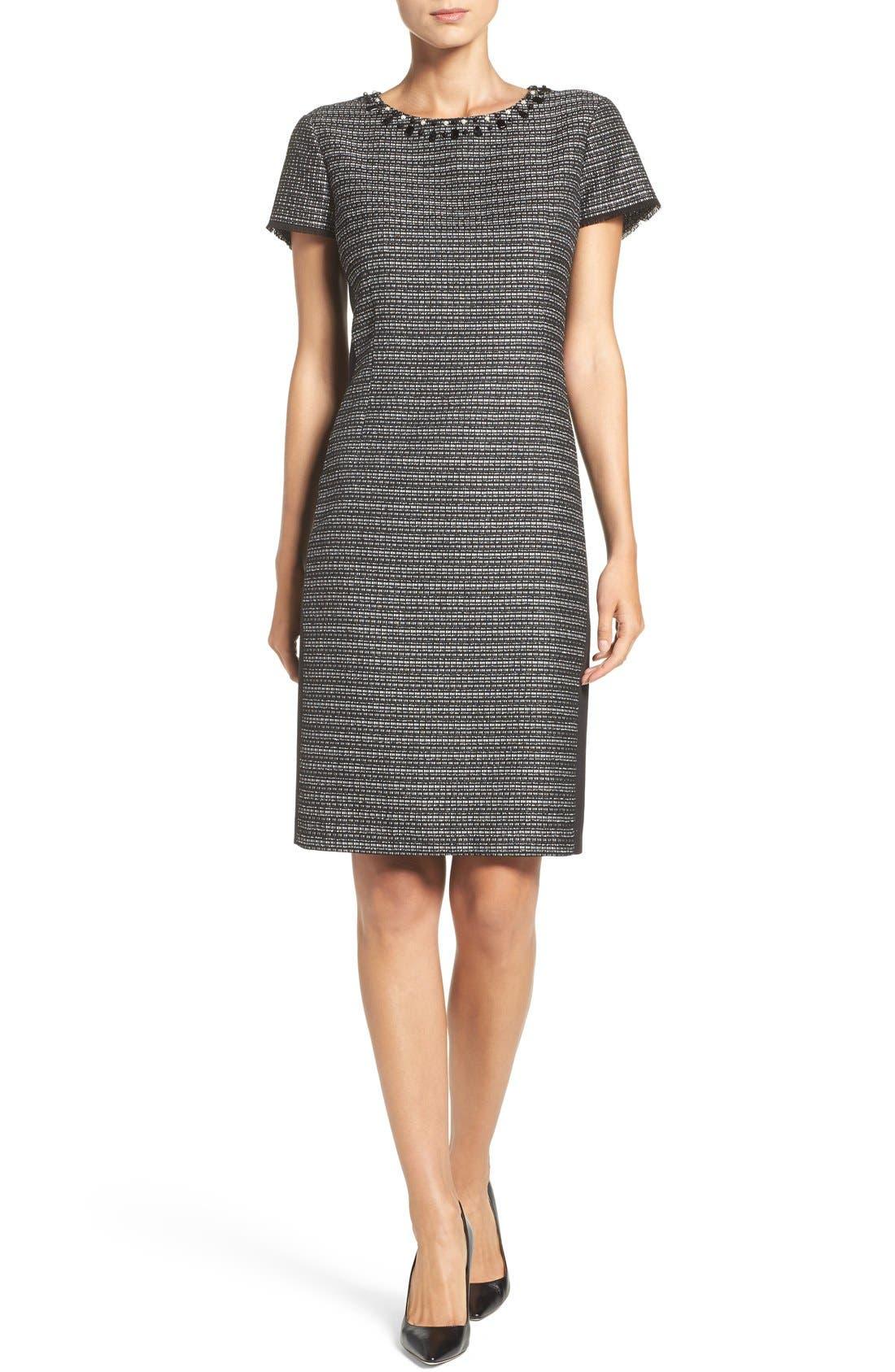 Alternate Image 4  - Ellen Tracy Embellished Tweed Shift Dress (Regular & Petite)