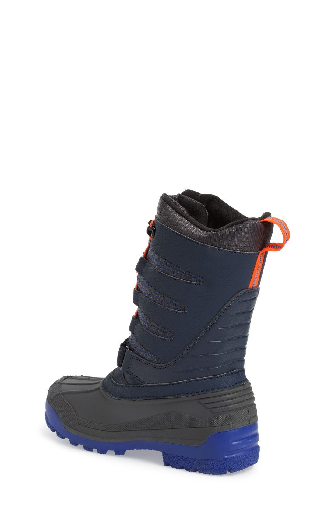 'Venom' Waterproof Insulated Snow Boot,                             Alternate thumbnail 2, color,                             Navy/ Orange